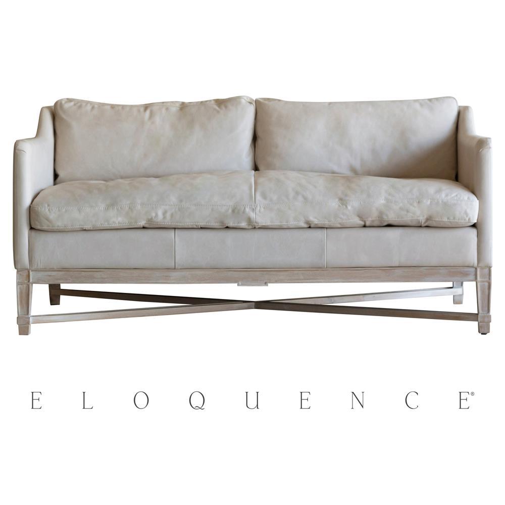 Eloquence® Scandinavian Aged Beige Leather Worn Oak Loveseat