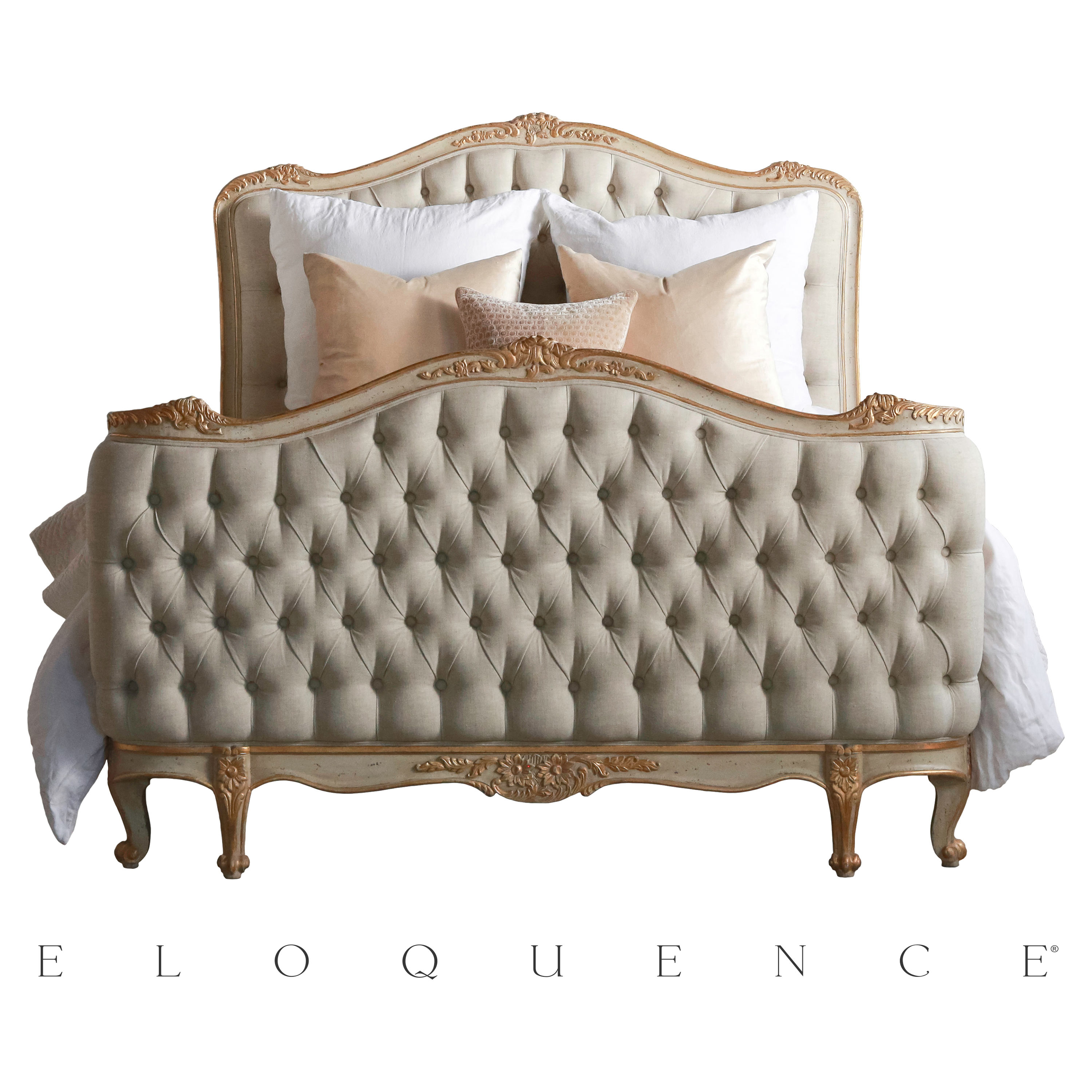 Eloquence® Sophia Gold Taupe Two Tone Queen Bed