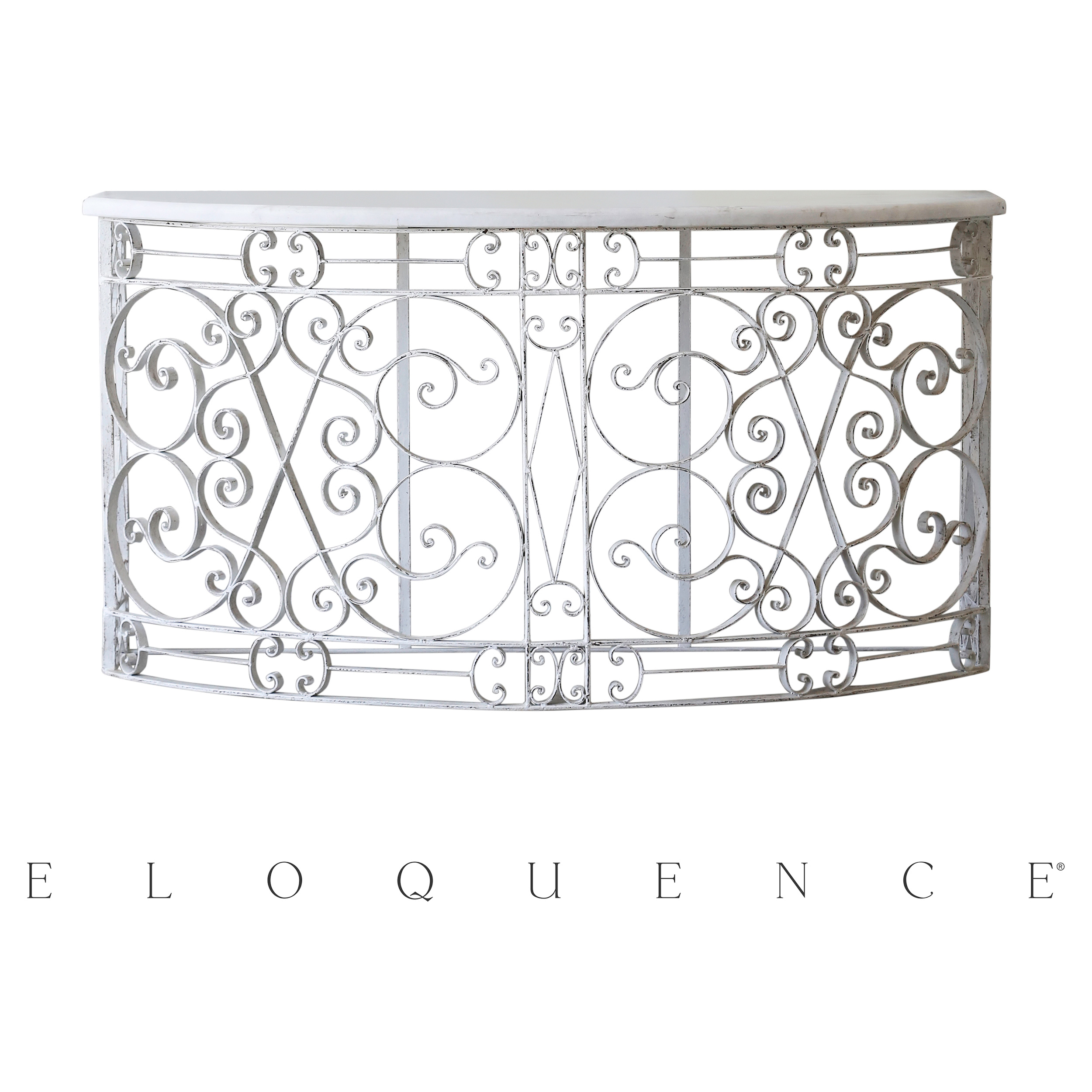 Eloquence® Distressed White Iron Balcony Console Table