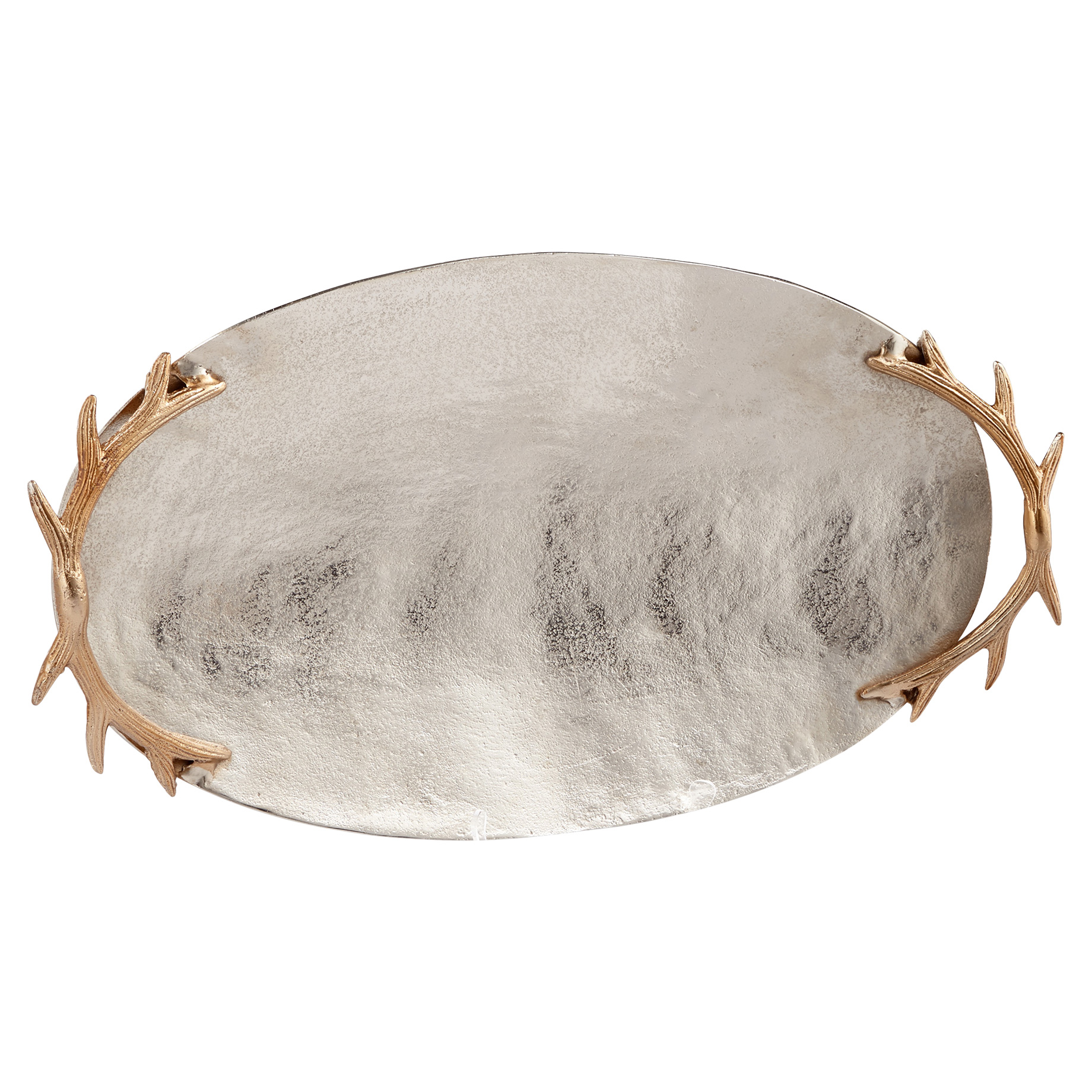 Gold Antler Lodge Pewter Silver Oval Tray - Large