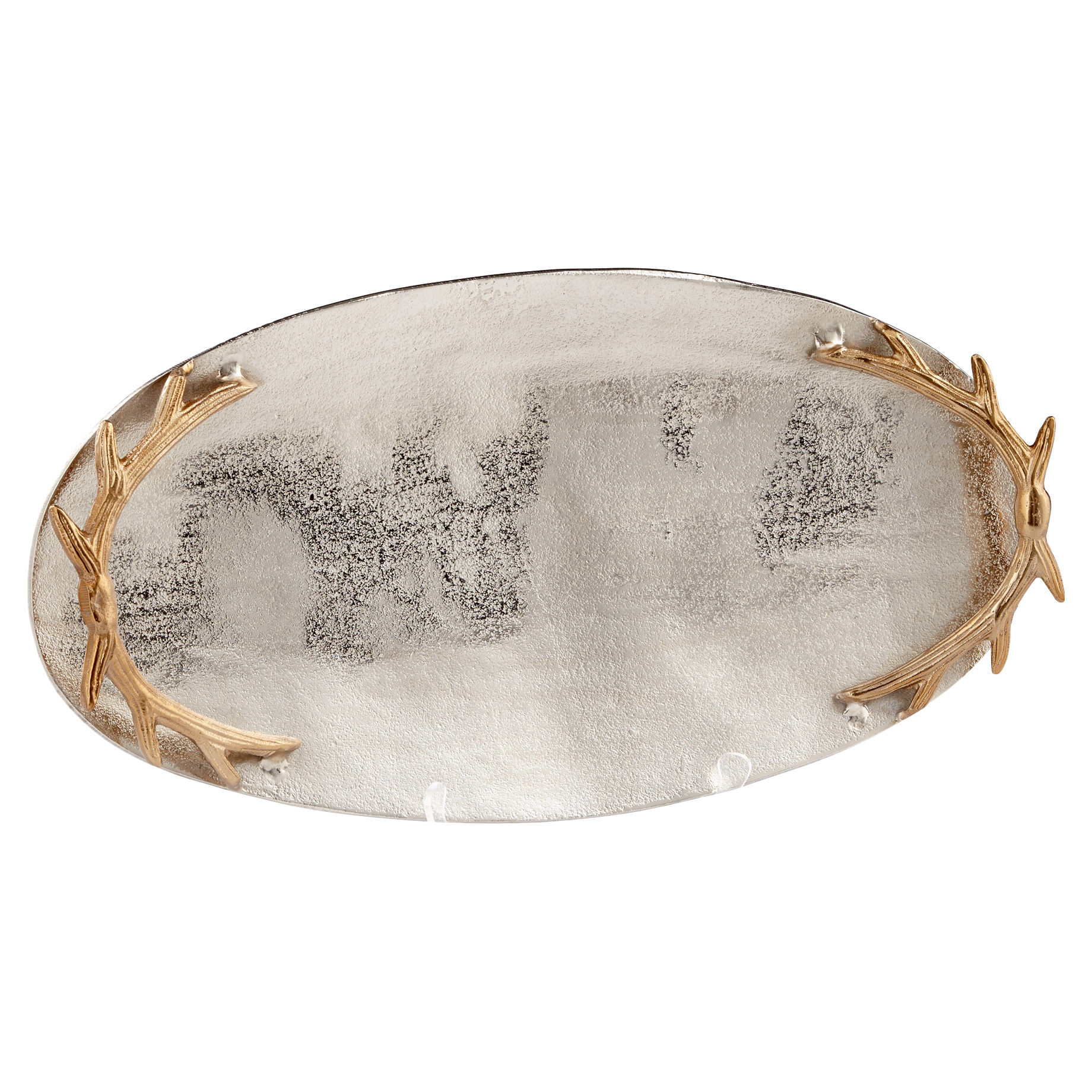 Gold Antler Lodge Pewter Silver Oval Tray - Small