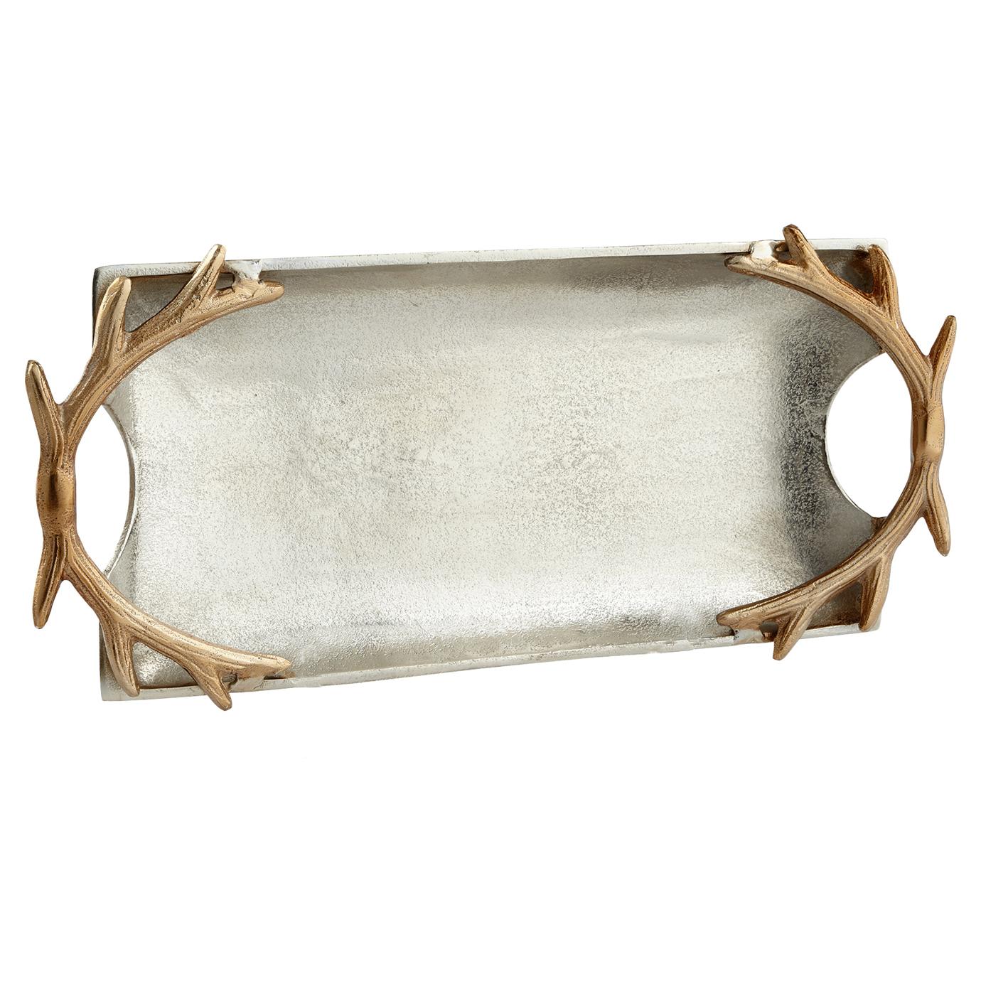 Gold Antler Rectangular Pewter Silver Tray - Large