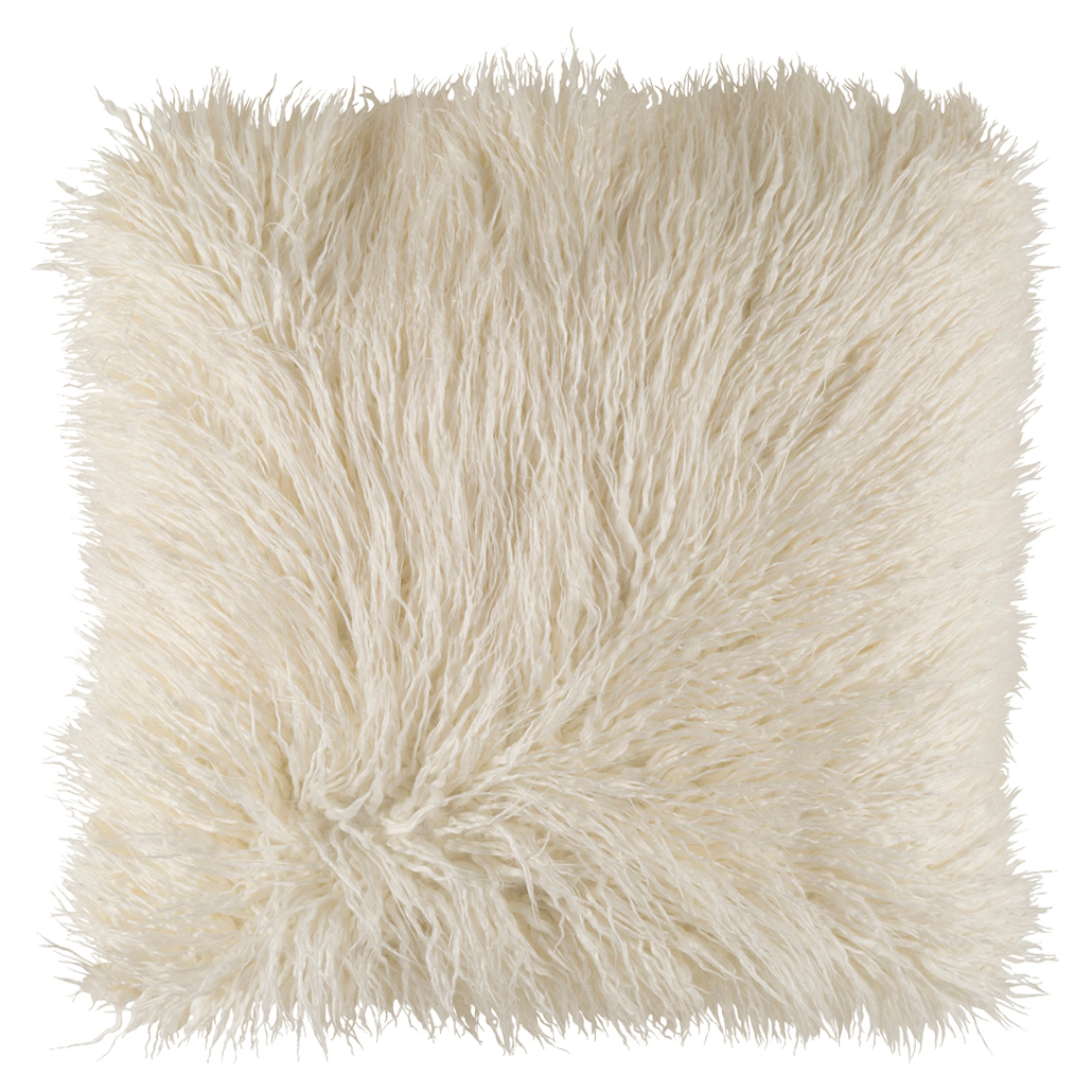 Milla Regency Faux Fur Textured Ivory Throw Pillow - 22x22