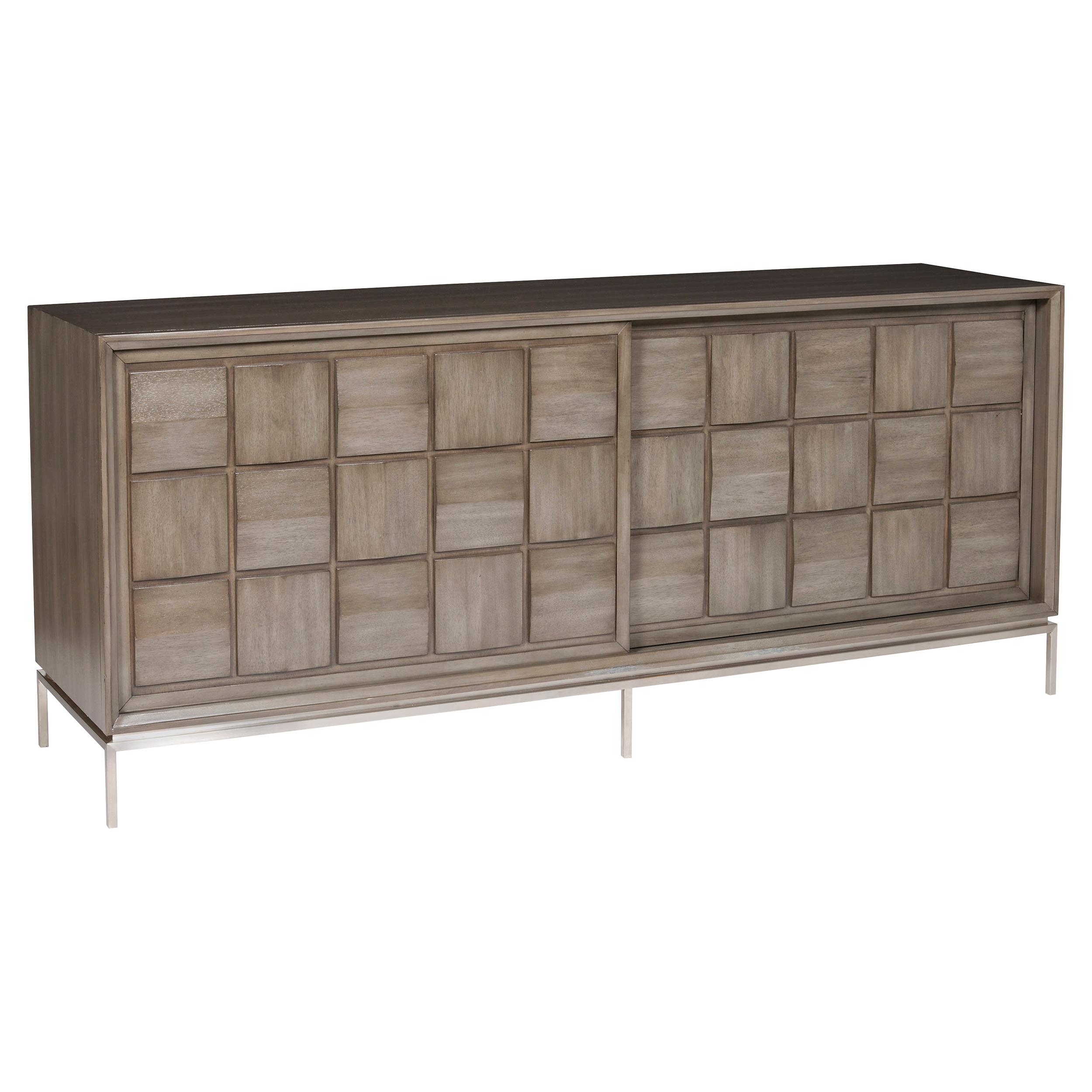 Emilie Rustic Lodge Checkered Grey Walnut Media Cabinet