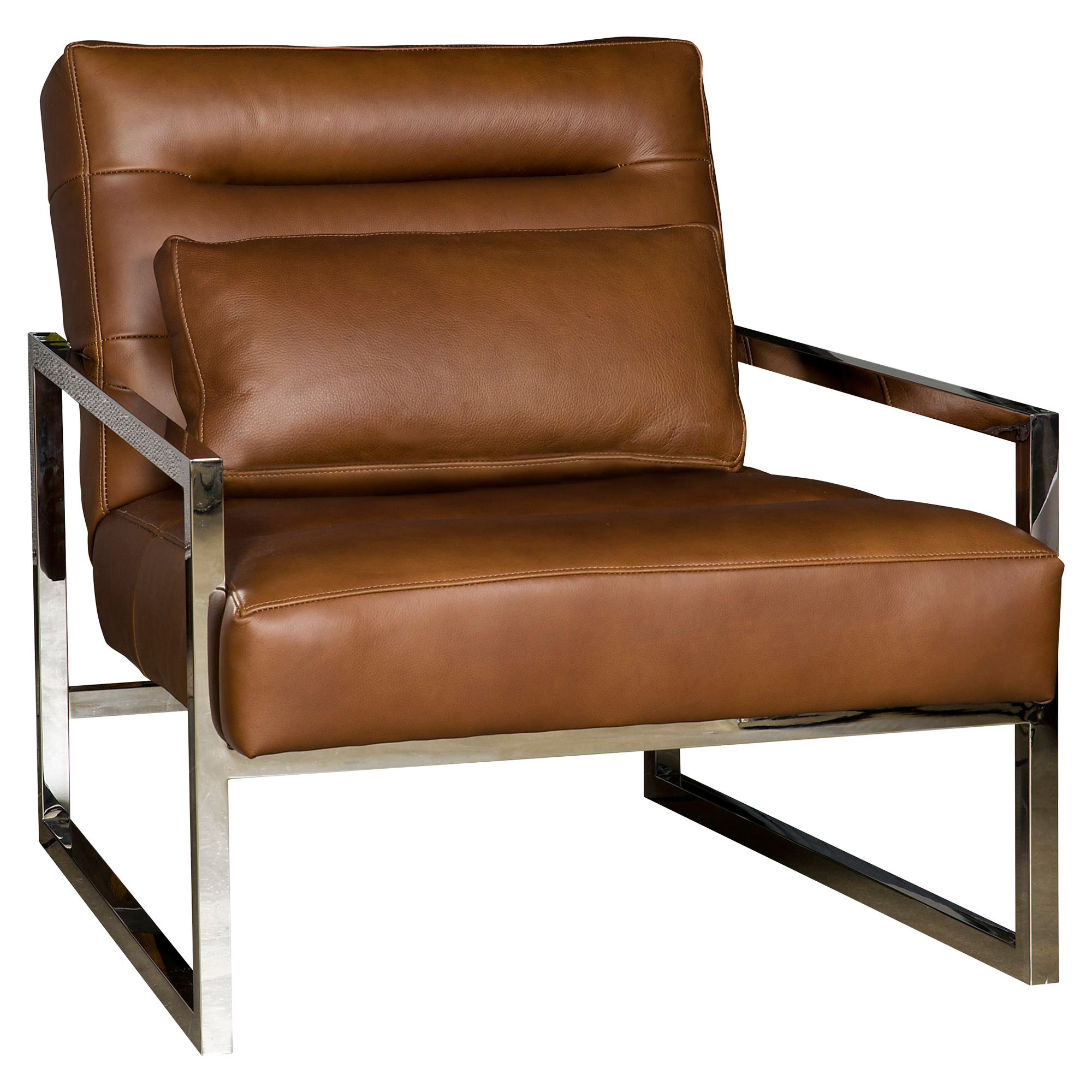 Cadena Loft Masculine Brown Leather Steel Armchair