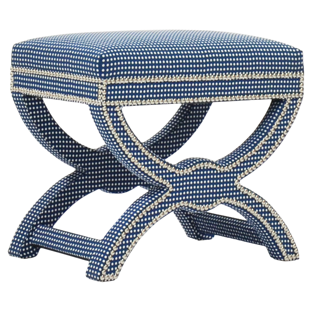 Moselle Coastal Dotted Indigo Blue Nickel Nailhead Stool