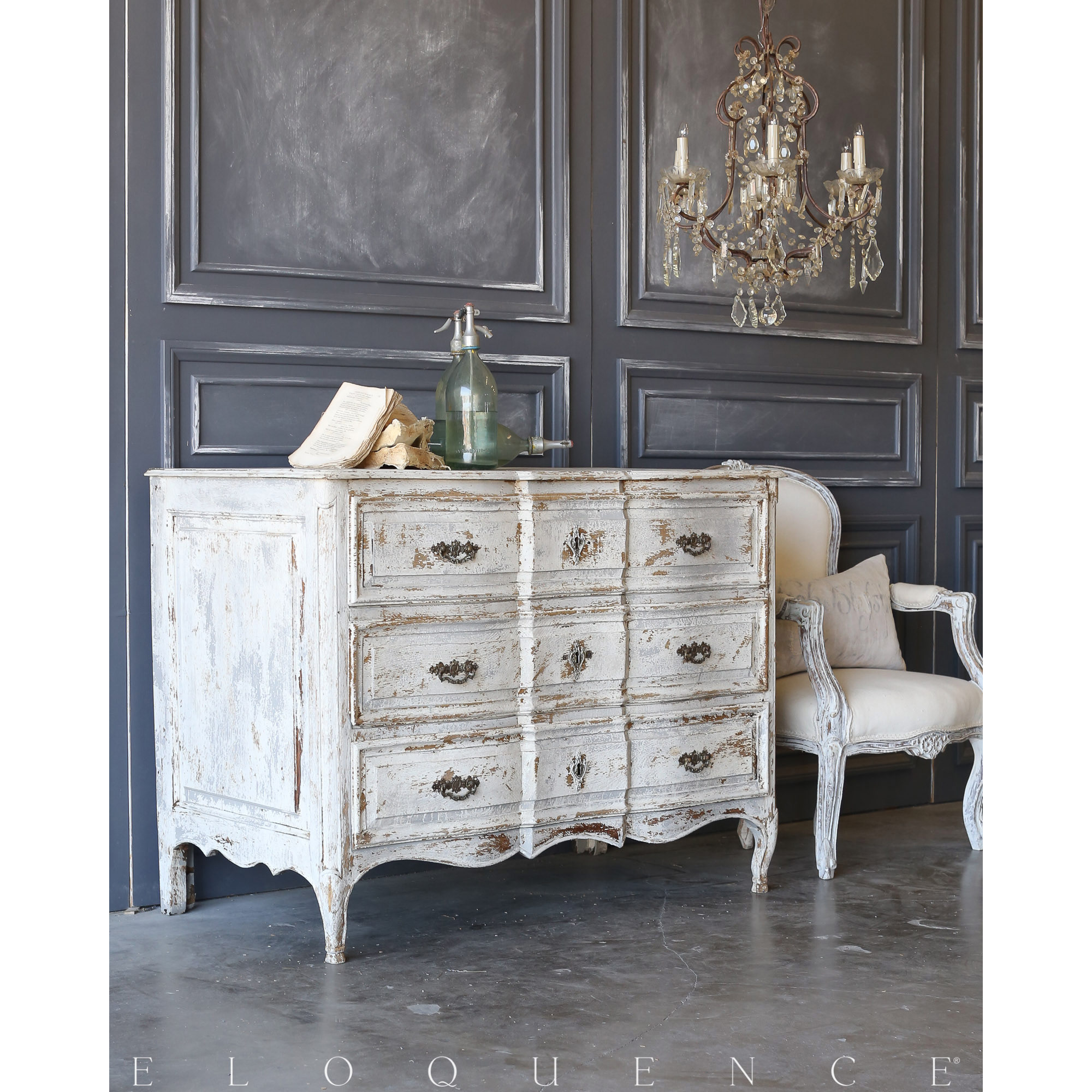 Eloquence® Antique French Louis XV Commode: 1820