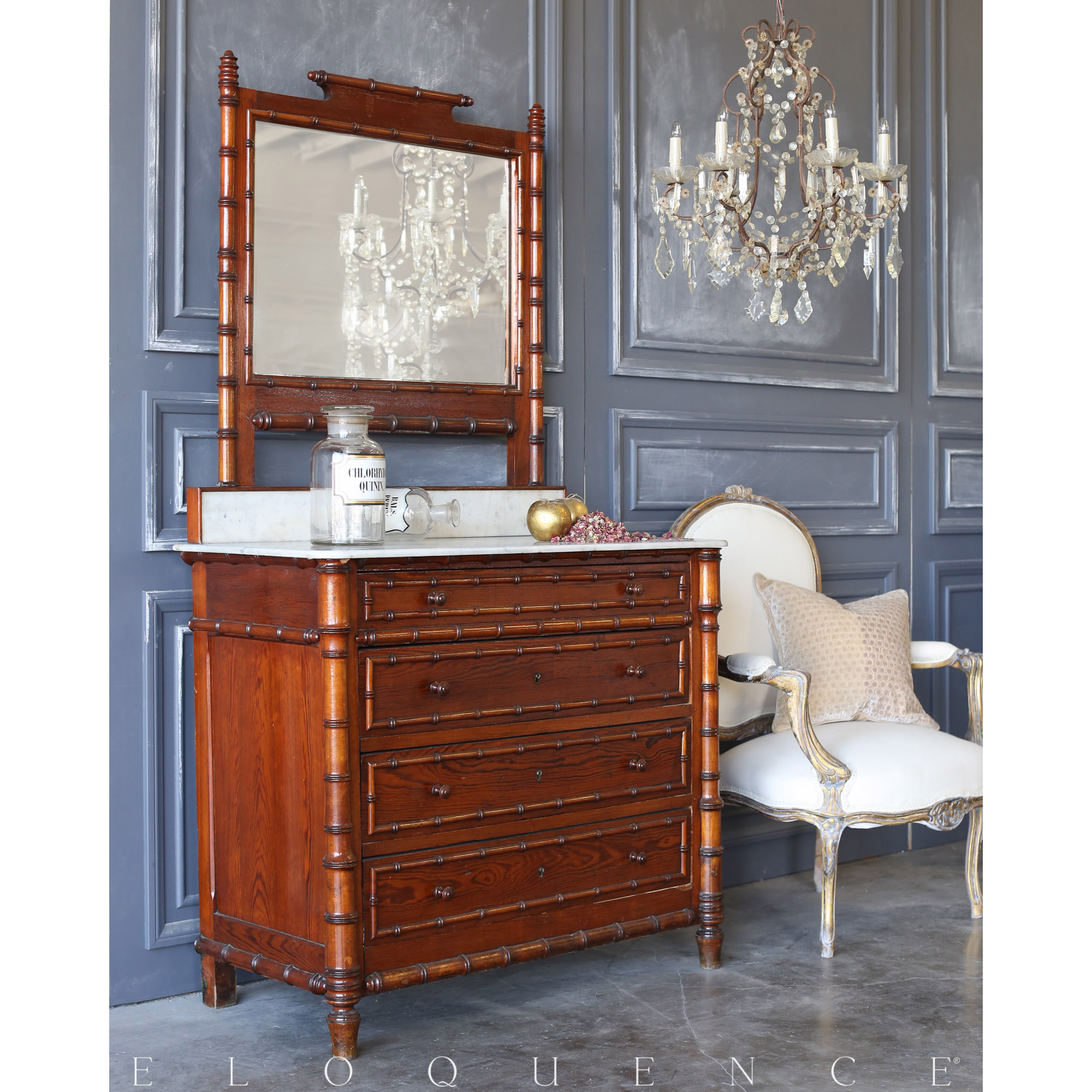 Eloquence® Vintage Bamboo Vanity with Marble Top: 1920