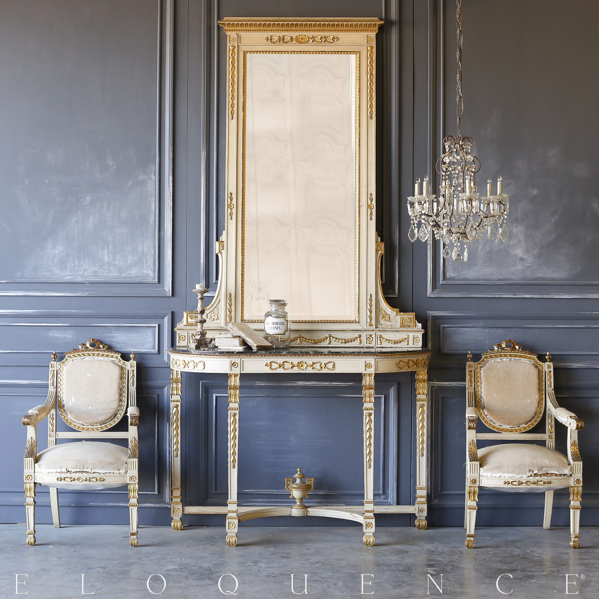 Eloquence® Antique Italian Console with Mirror: 1870