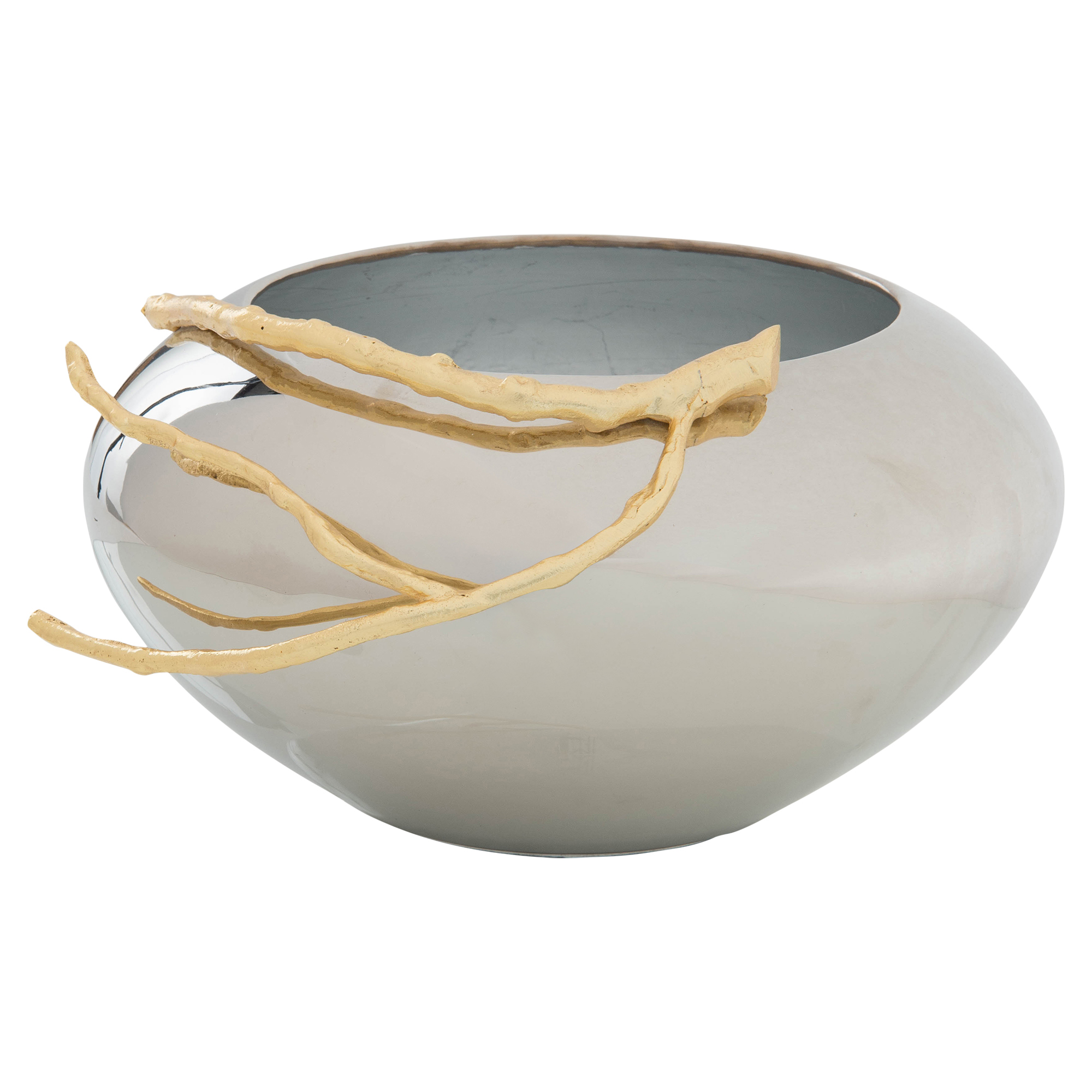 Modern Gold Branch Plated Nickel Decorative Bowl