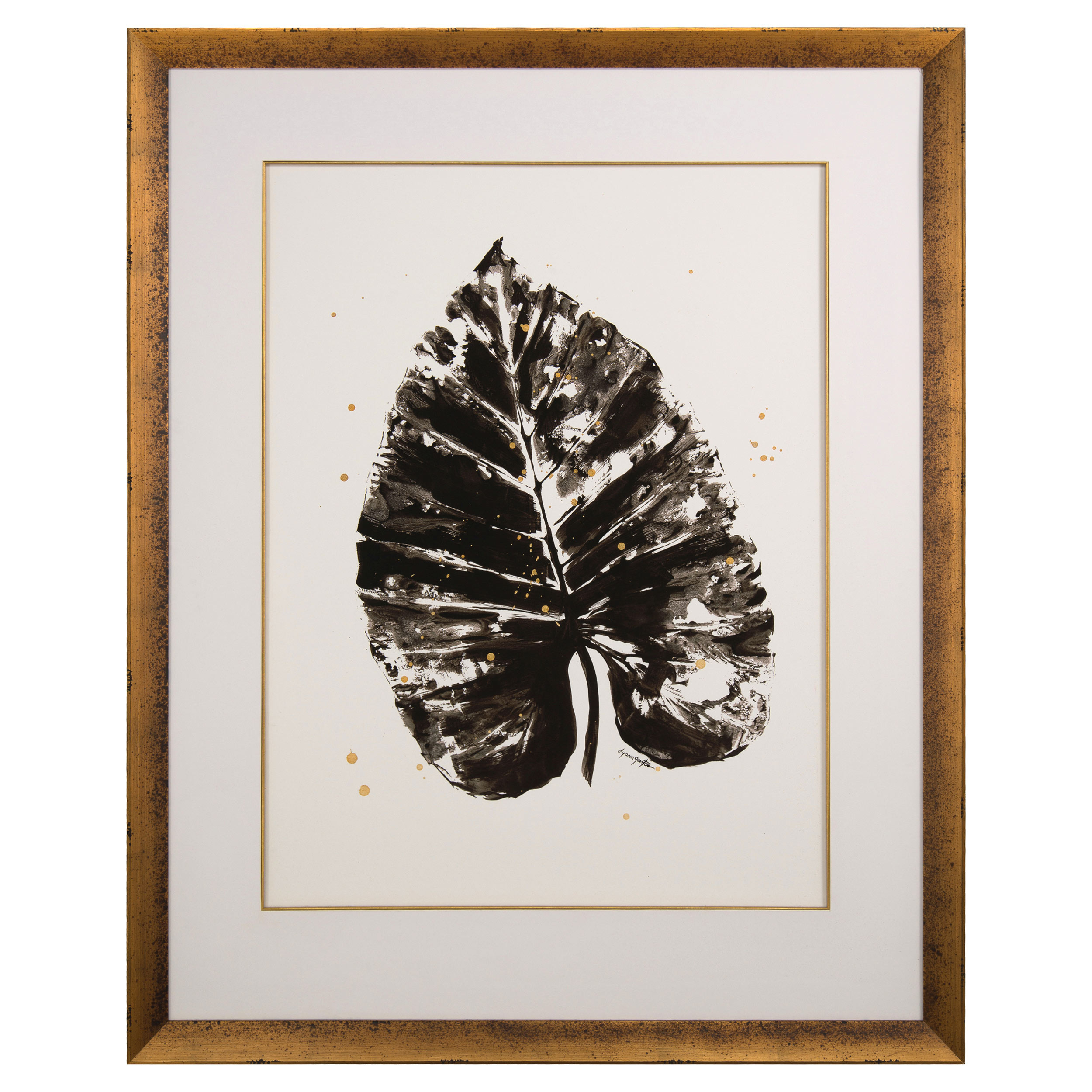 Elephant Ear Gold Frame Pressed Black Print - I