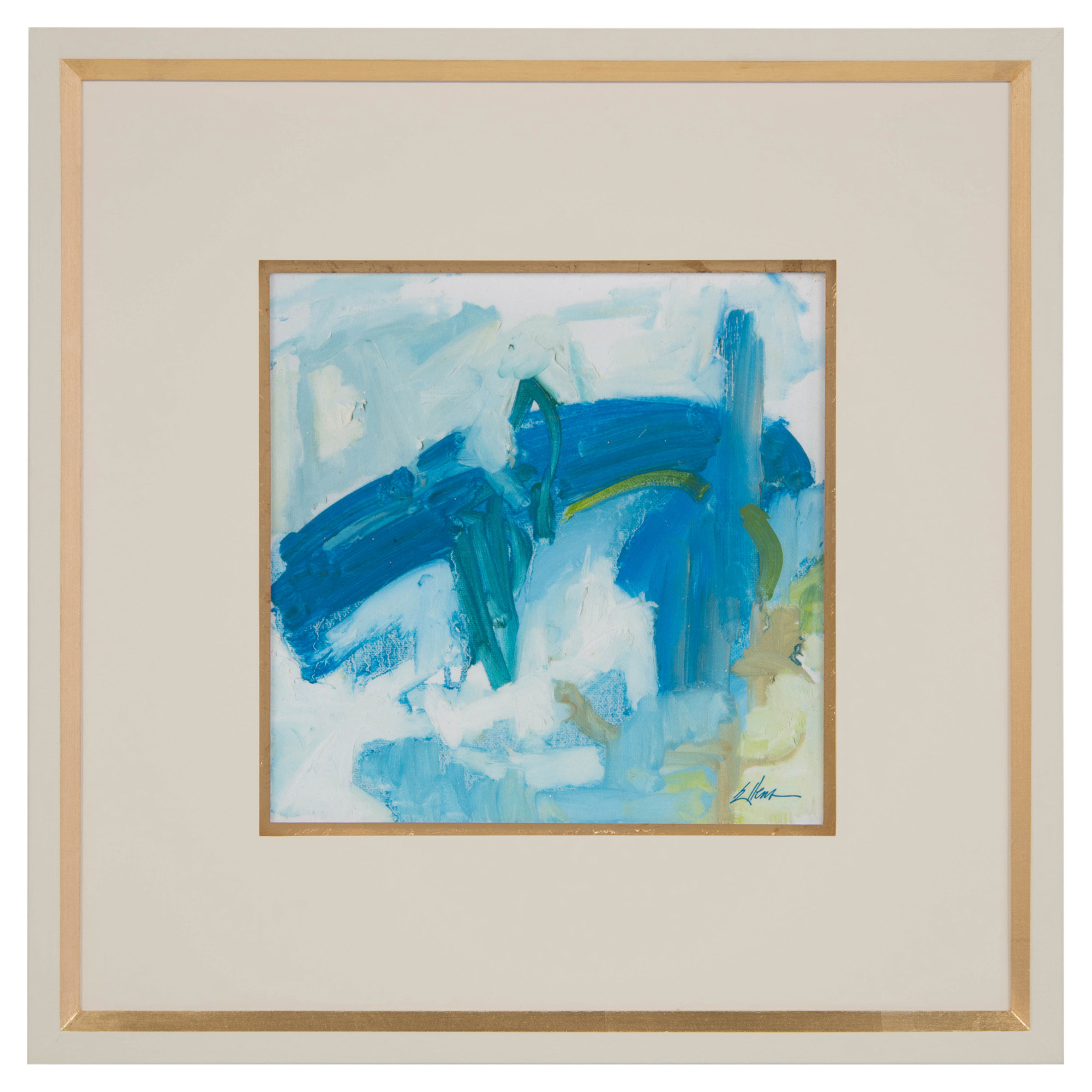 Daze Blue Abstract Ivory Gold Giclee Painting