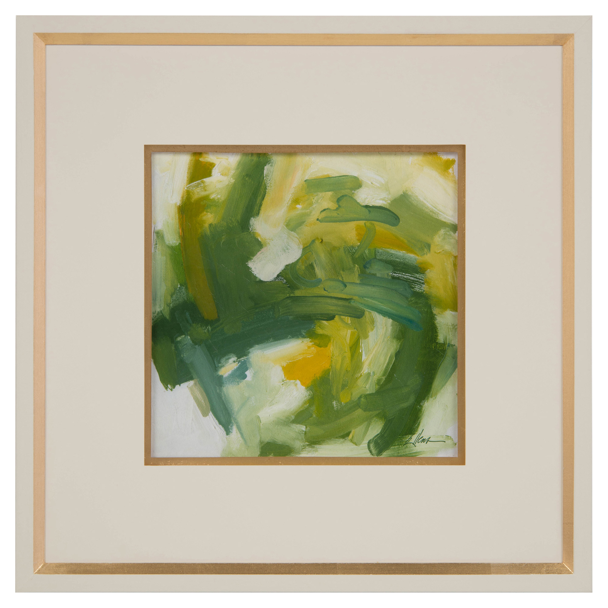 Daze Yellow Olive Abstract Ivory Gold Giclee Painting