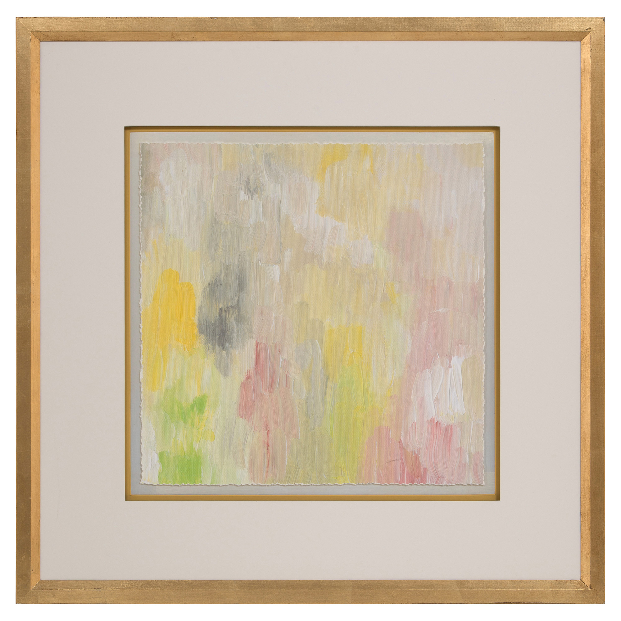 Pastel Spring Abstract Gold Leaf Ivory Art - II