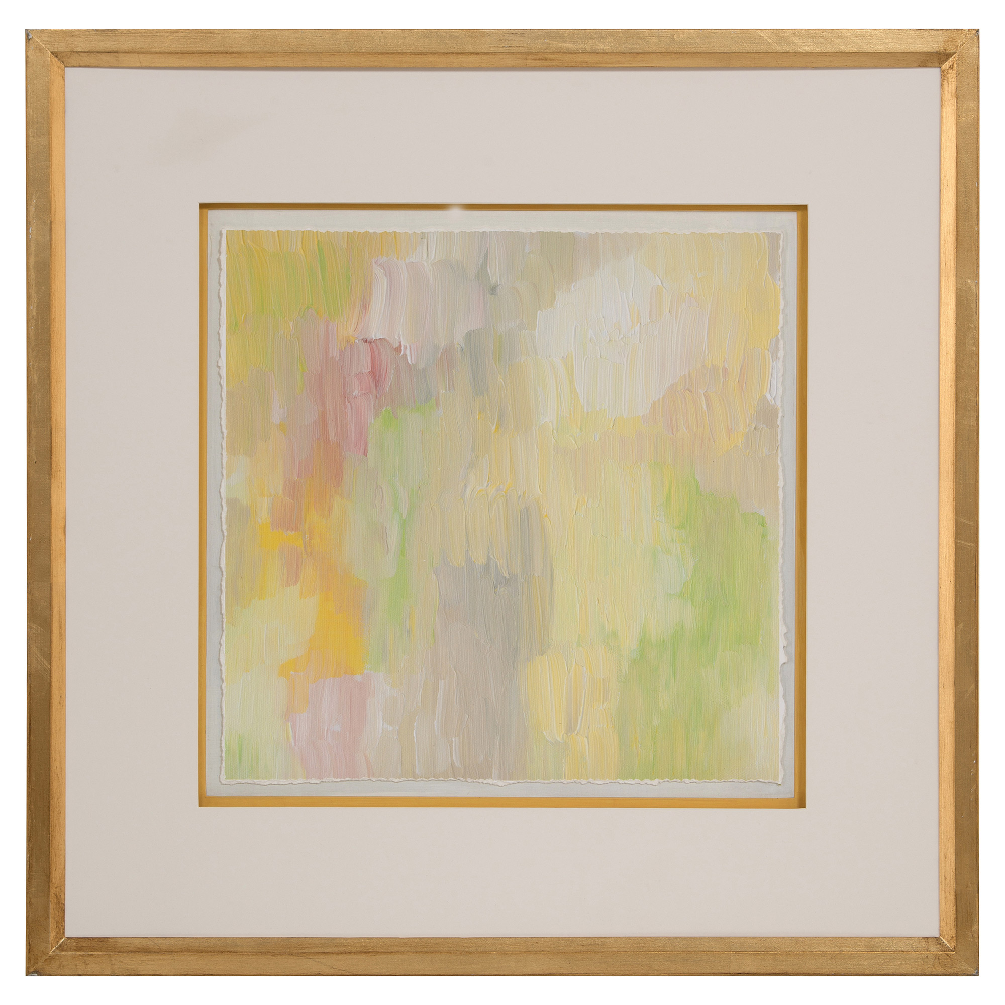 Pastel Spring Abstract Gold Leaf Ivory Art - I