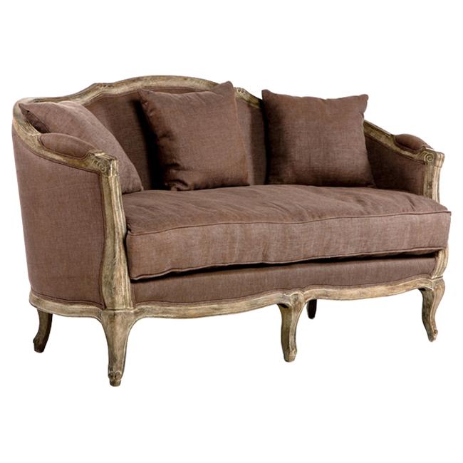 Rue Du Bac Barrel Brown Linen Back 3 Seat Sofa
