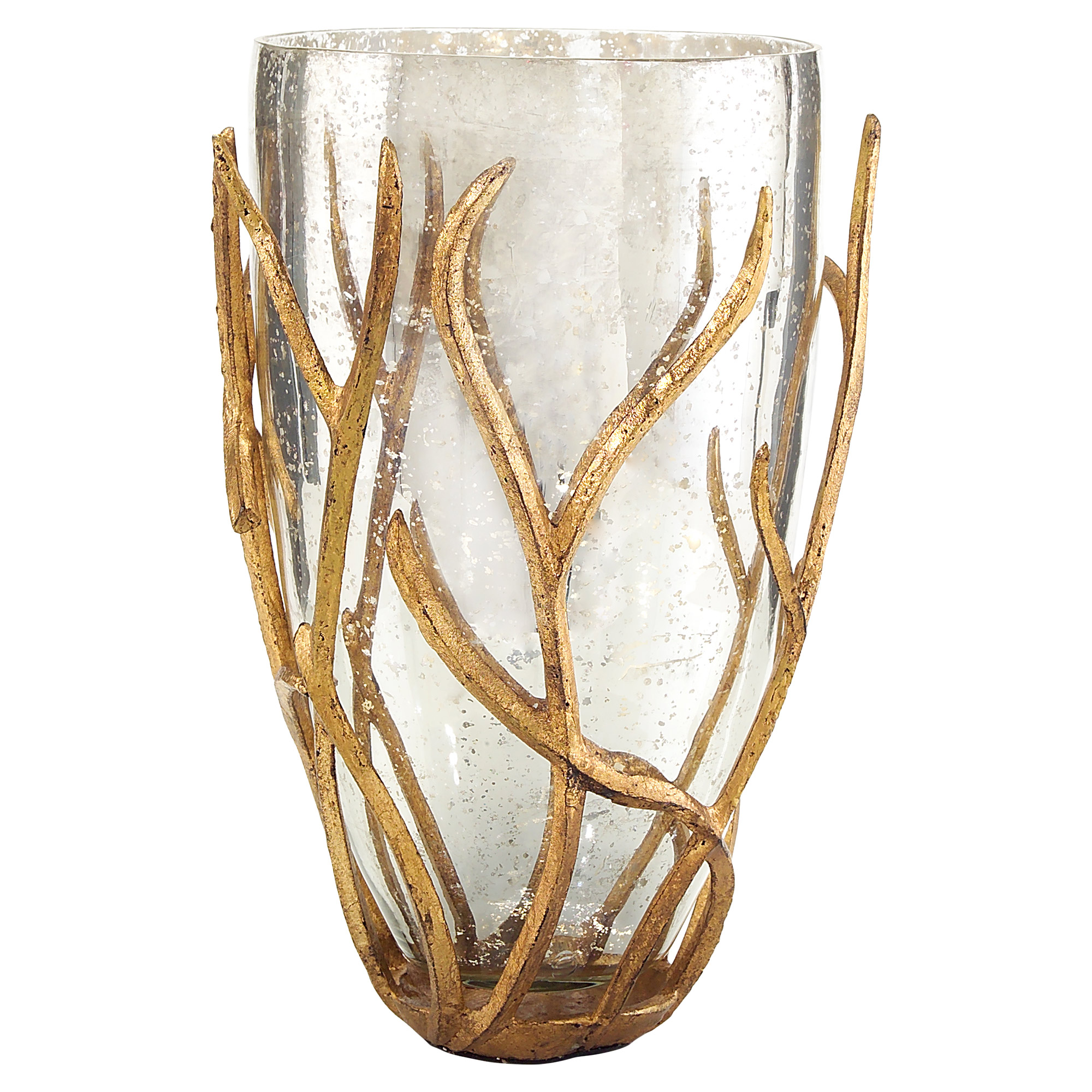 Regency Wrapped Gold Branch Mercury Glass Vase