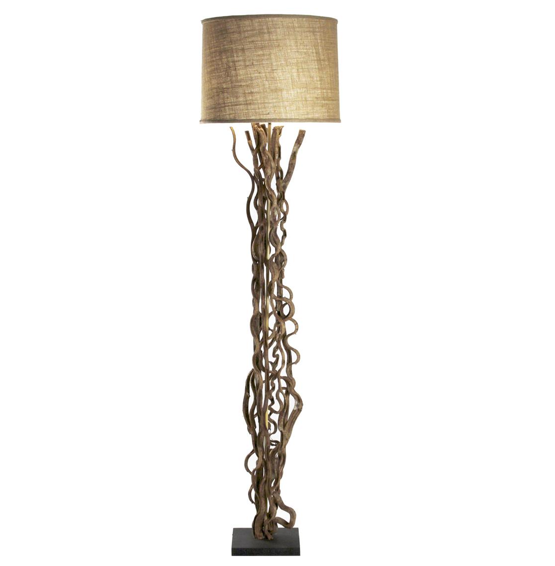 Rustic Natural Vine Burlap Floor Lamp