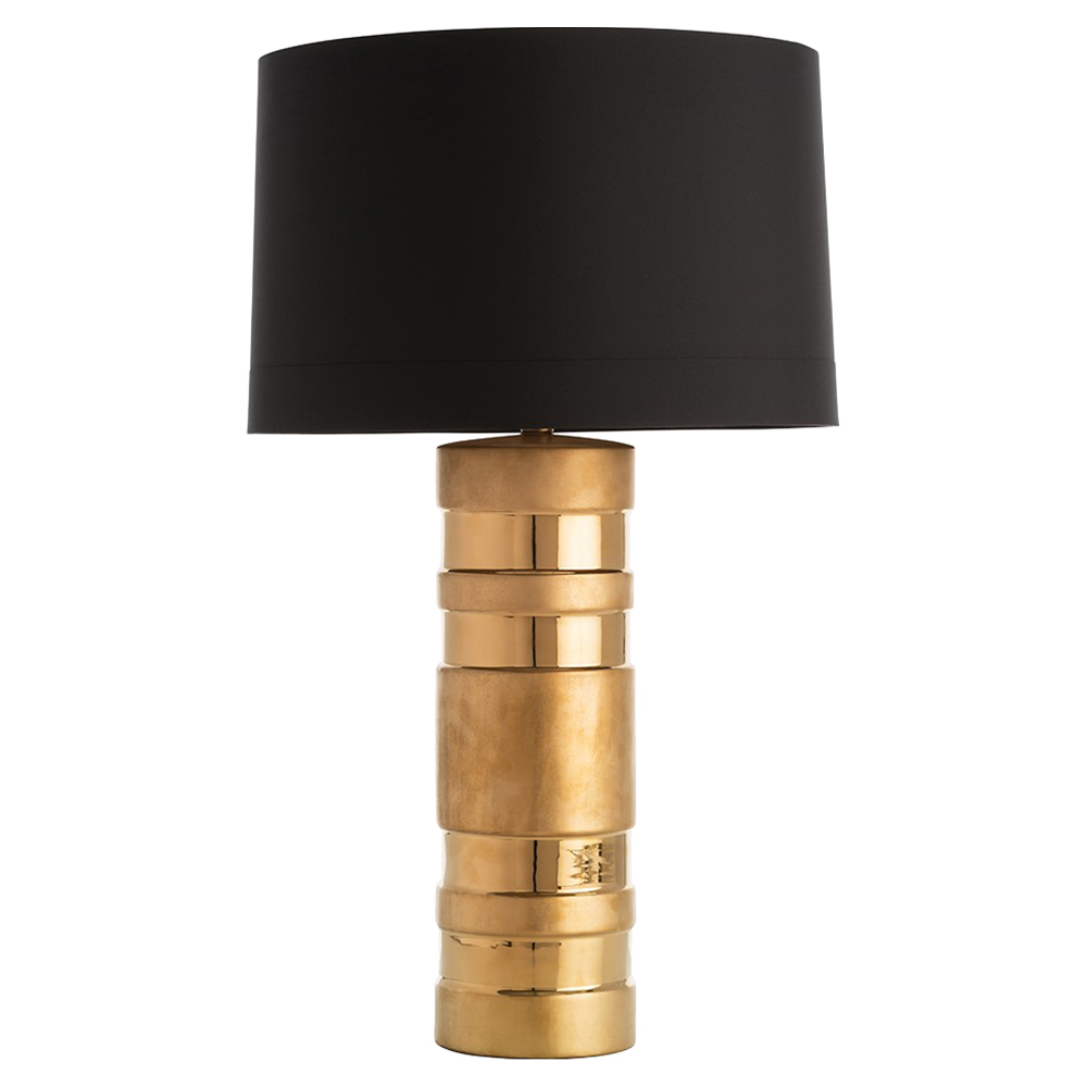 Audric Regency Matte Gloss Gold Band Black Table Lamp