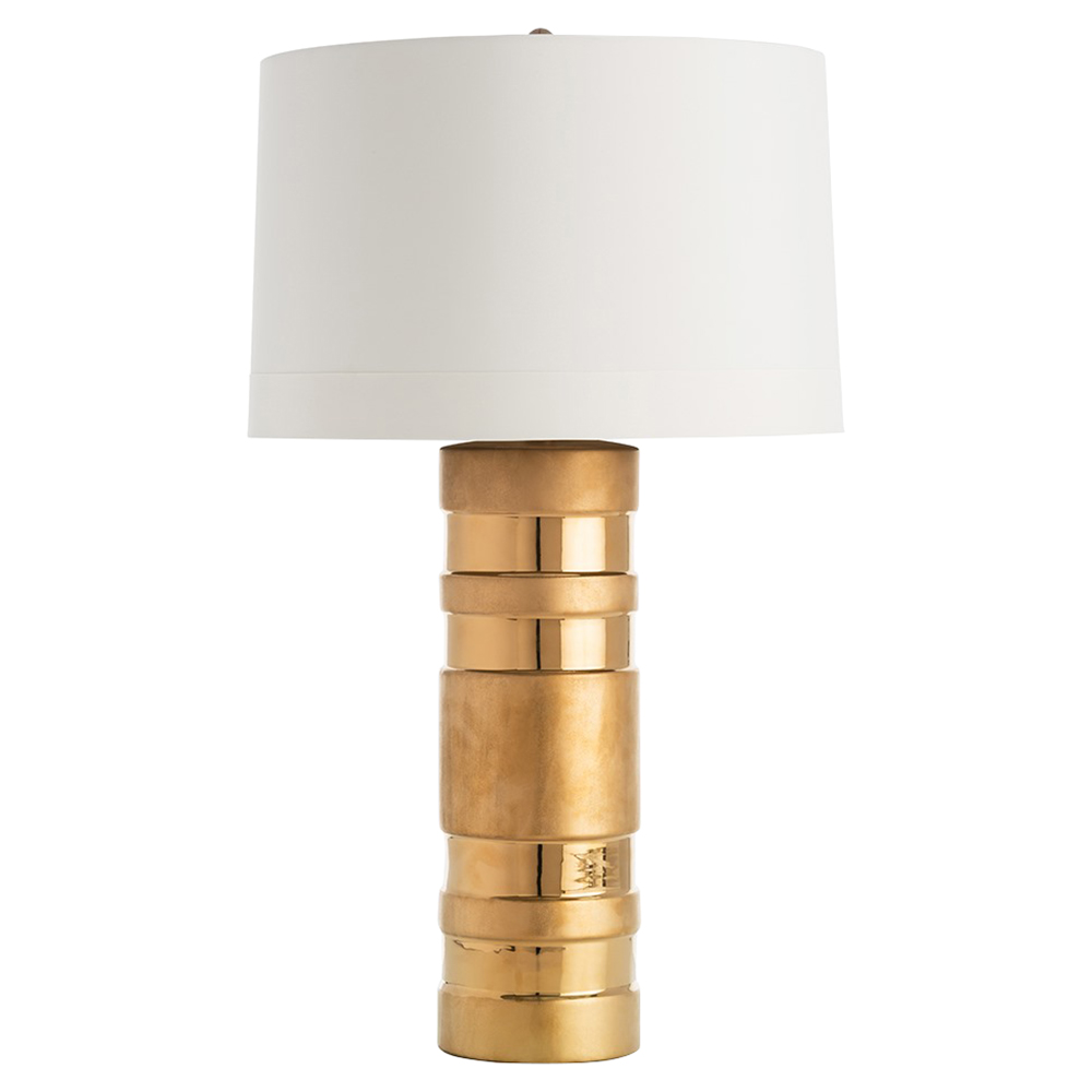 Audric Regency Matte Gloss Gold Band White Table Lamp