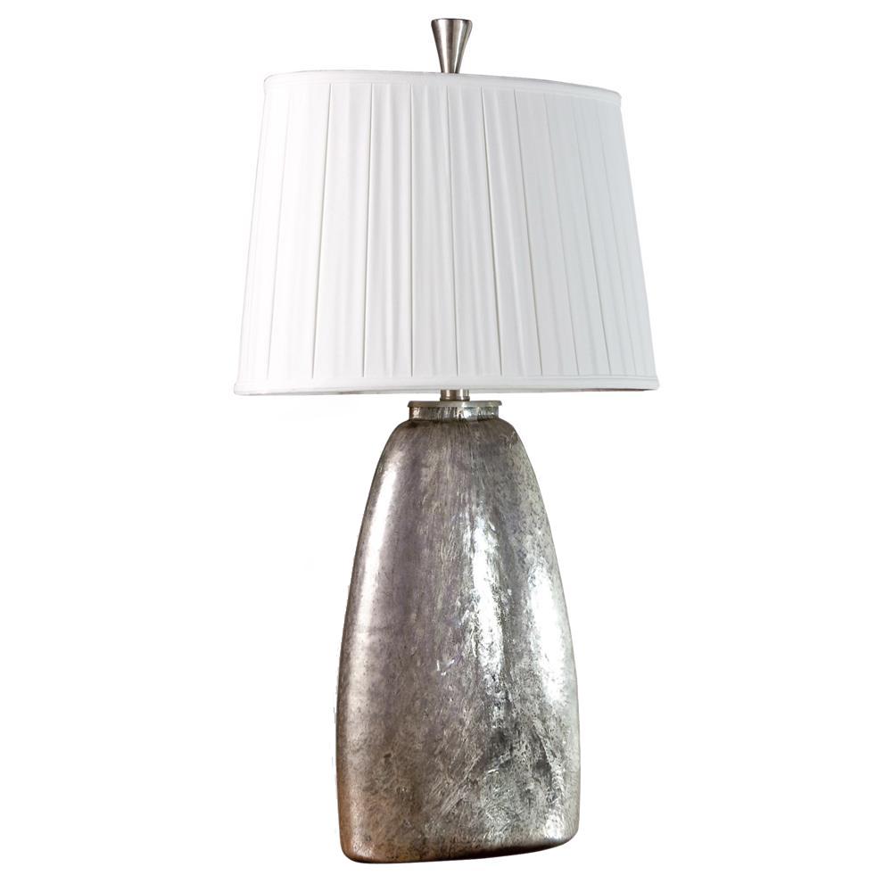 Vivian Glass Antique Silver Modern Elegant Lamp - 36 Inch Height