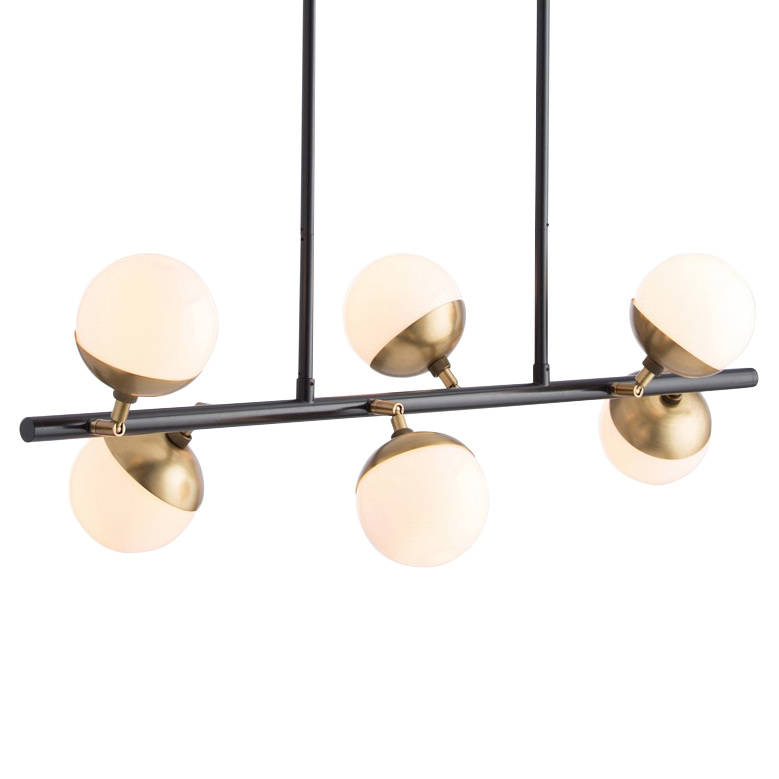 Diego Modern Retro Brass Opal Glass Ball Island Light
