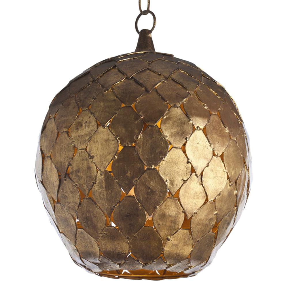 Vihan Bazaar Antique Gold Leaf Diamond Globe Pendant