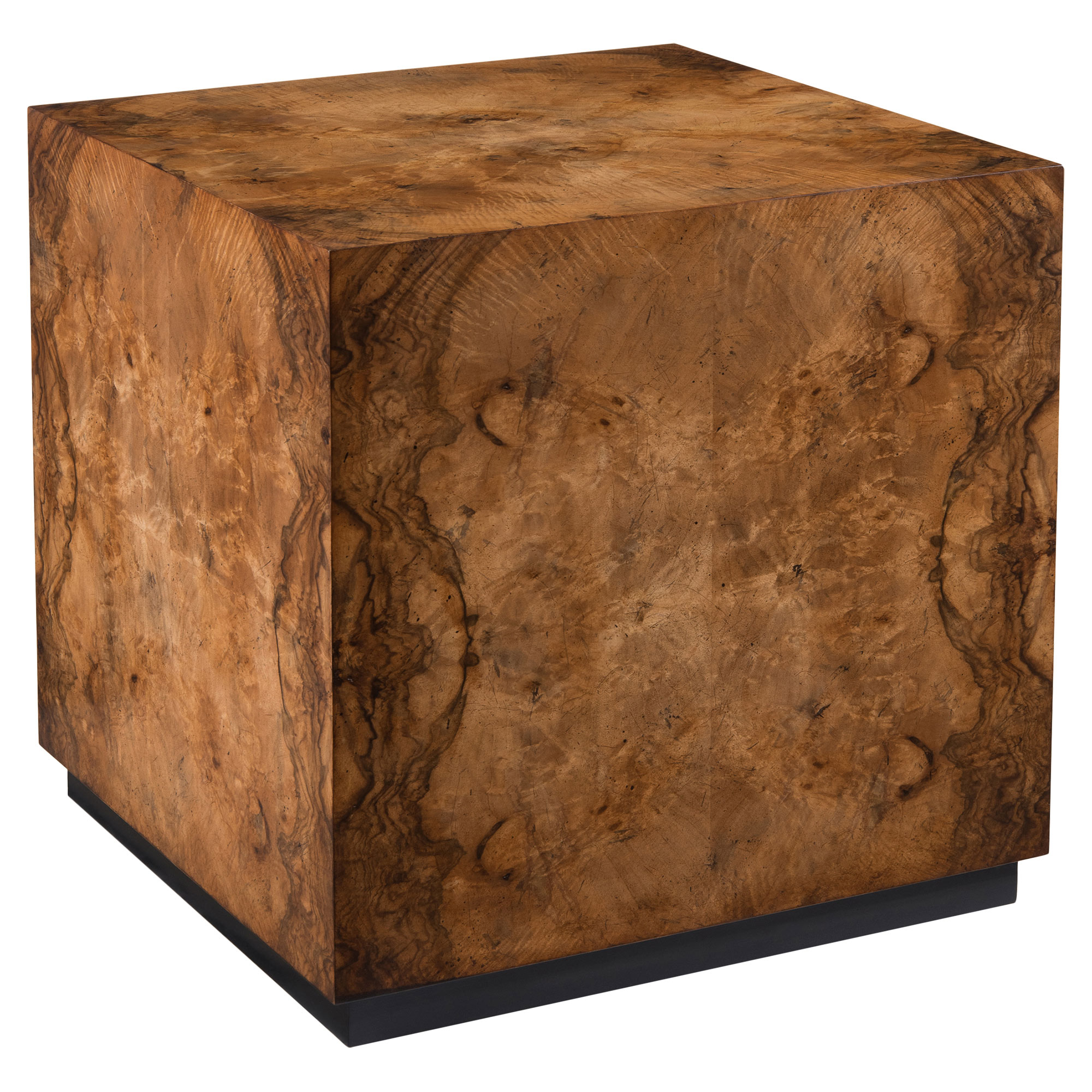 Kelvis Rustic Modern Walnut Burl Cube Coffee Table