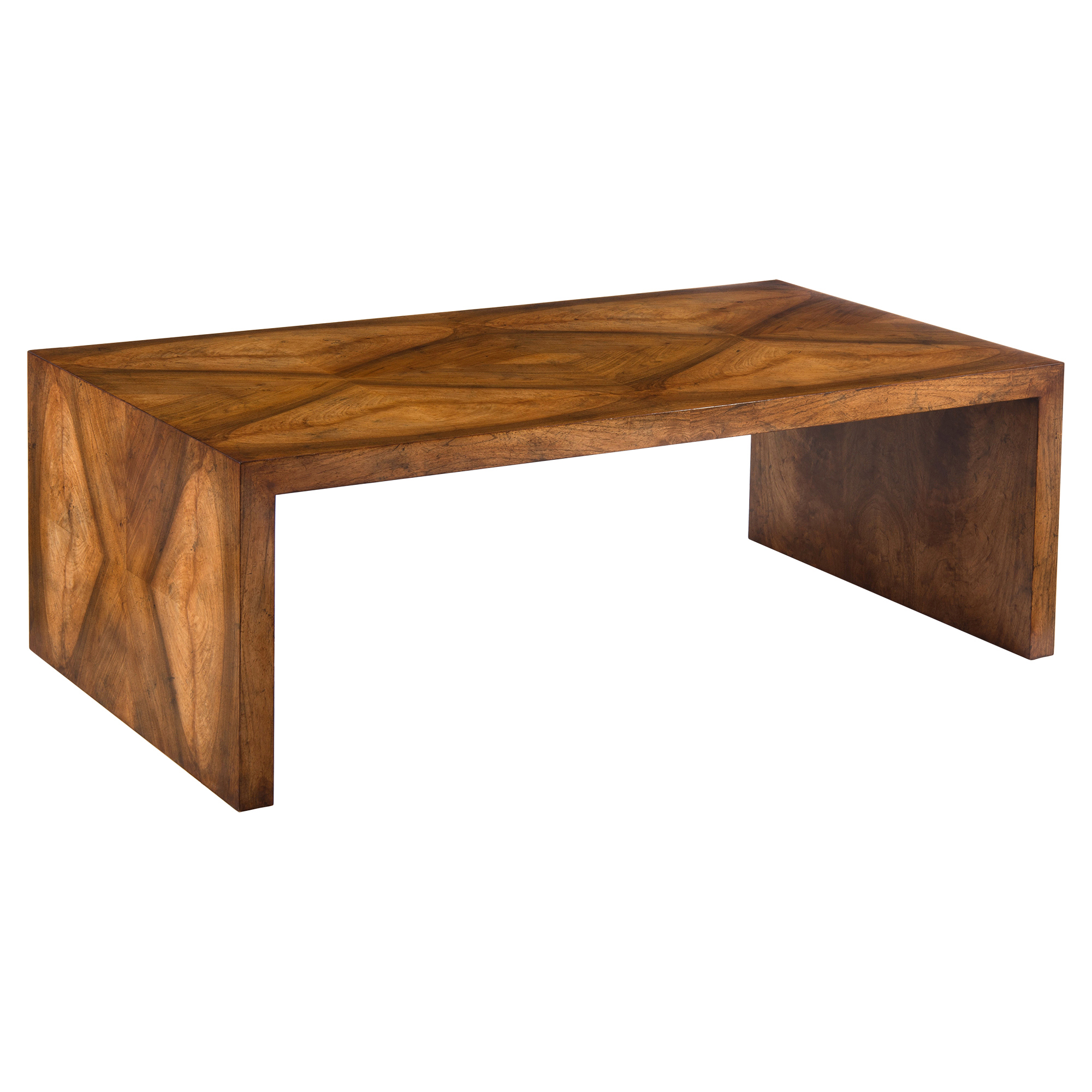 Janson Rustic Modern Veneer Waterfall Coffee Table