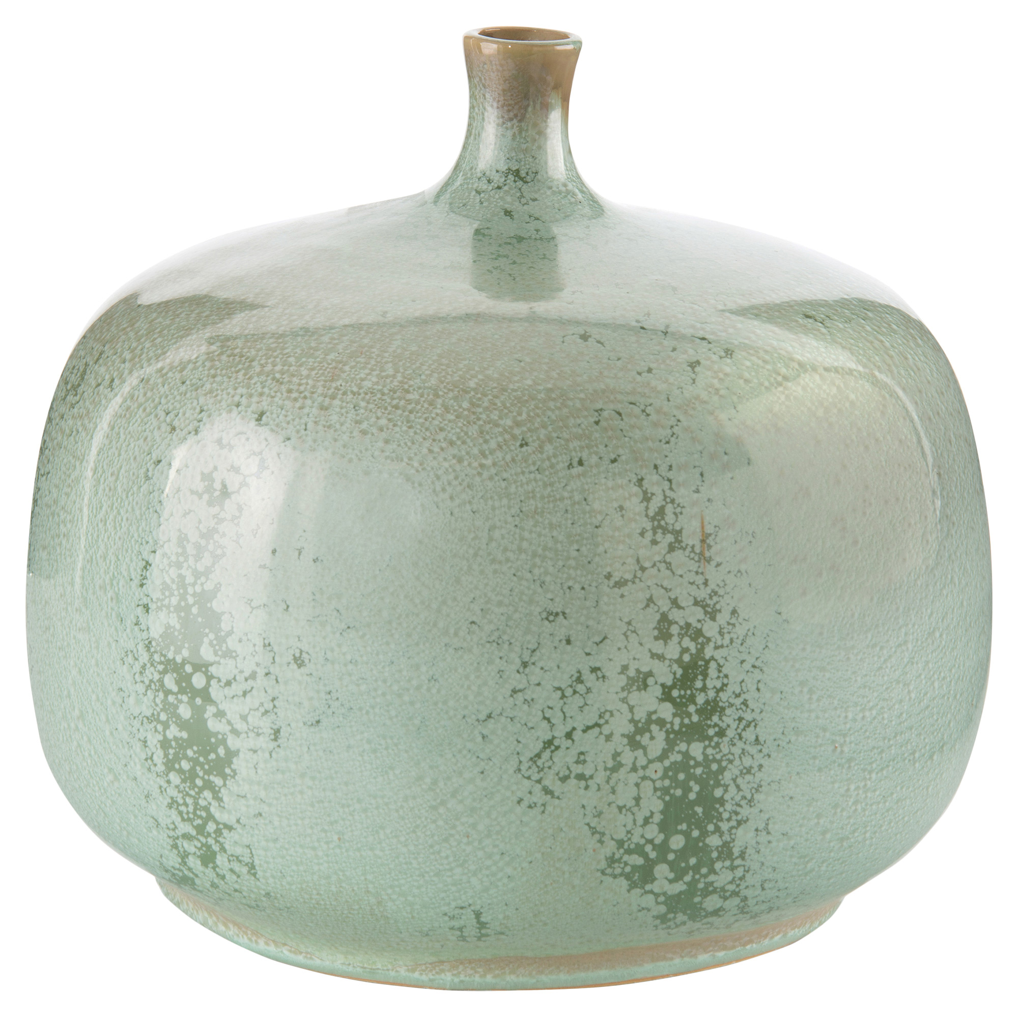 Ling Global Bazaar Reactive Glazed Green Decorative Jar