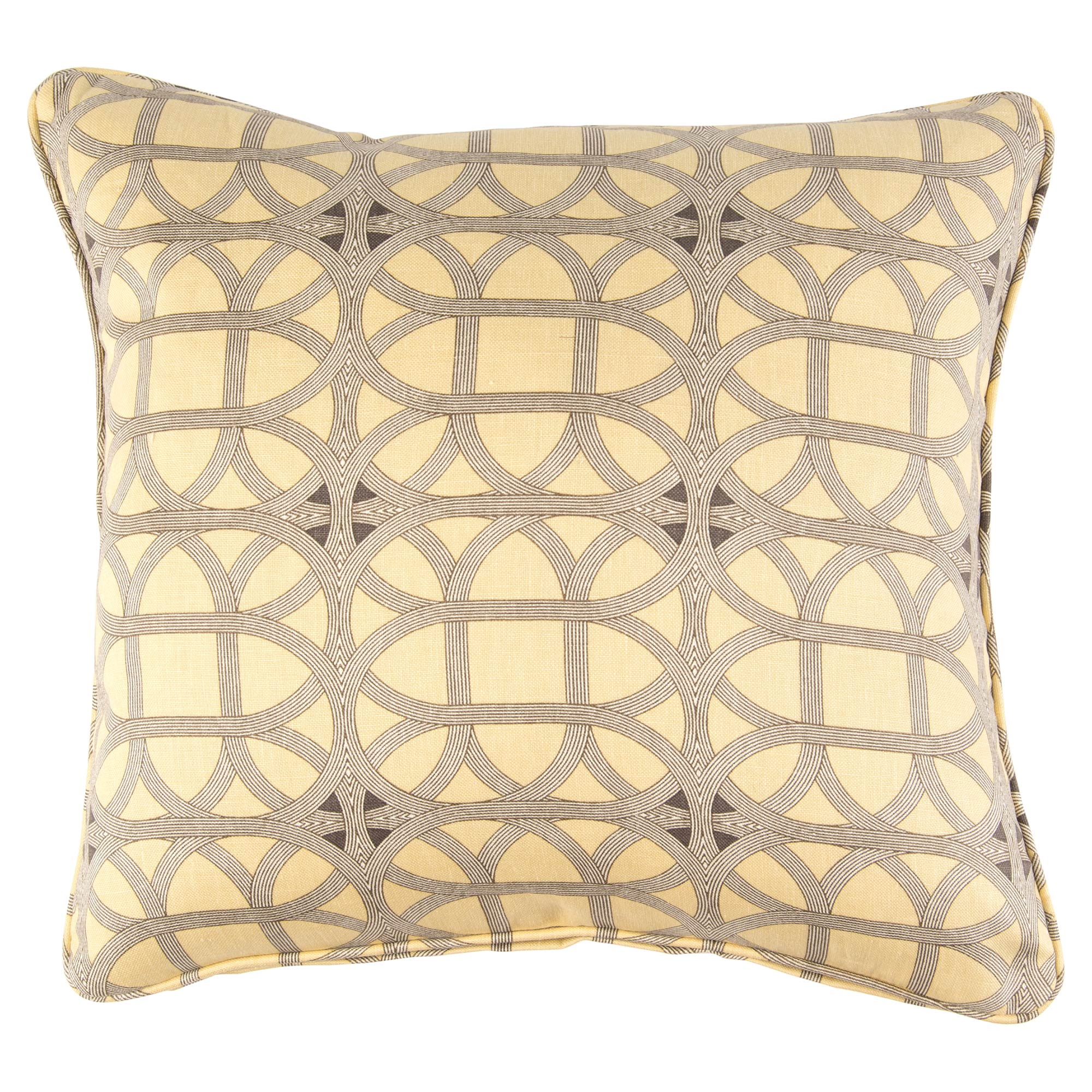 Deon Modern Retro Yellow Grey Pattern Pillow - 22x22