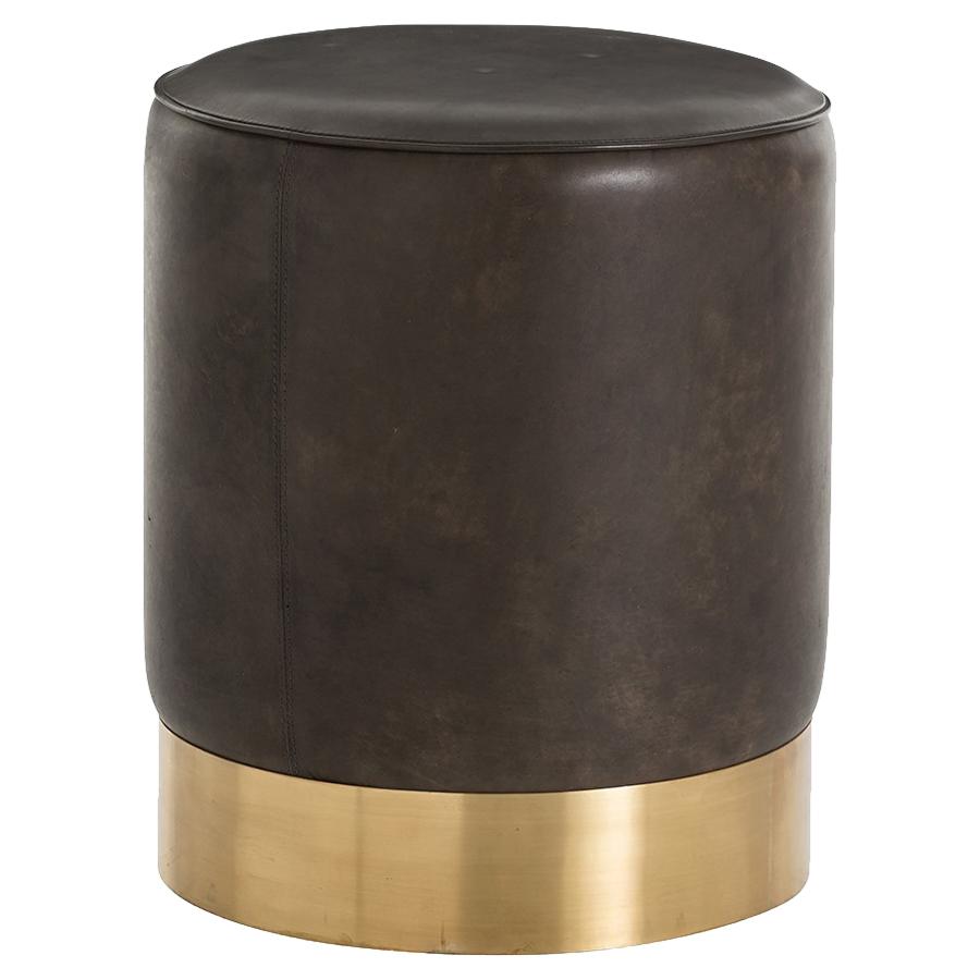 Cia Industrial Regency Black Leather Brass Drum Stool