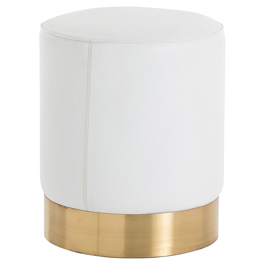Cia Regency Ivory Leather Brushed Brass Drum Stool