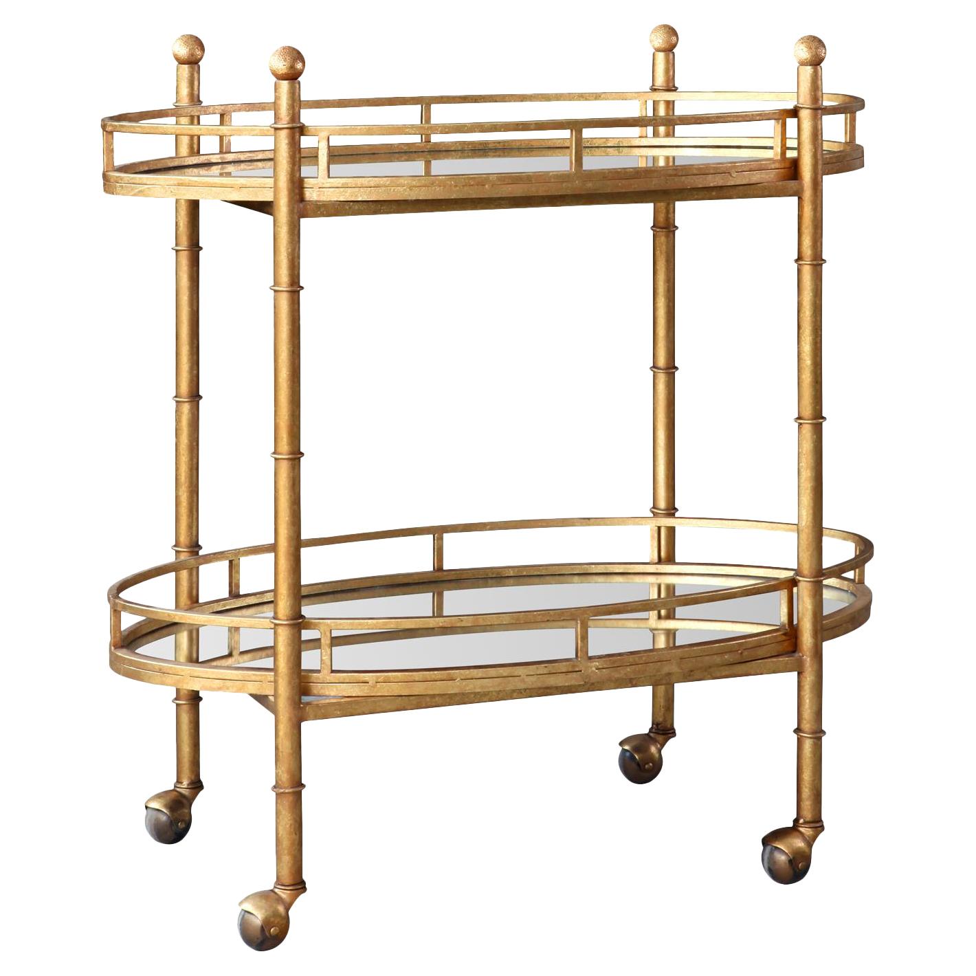 Kalem Global Antique Gold Faux Bamboo Bar Cart