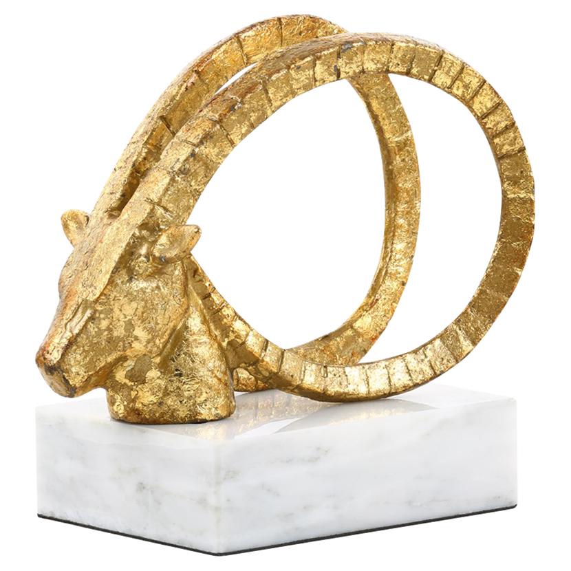 Ibex Spiral Horn Gold Leaf Marble Sculpture