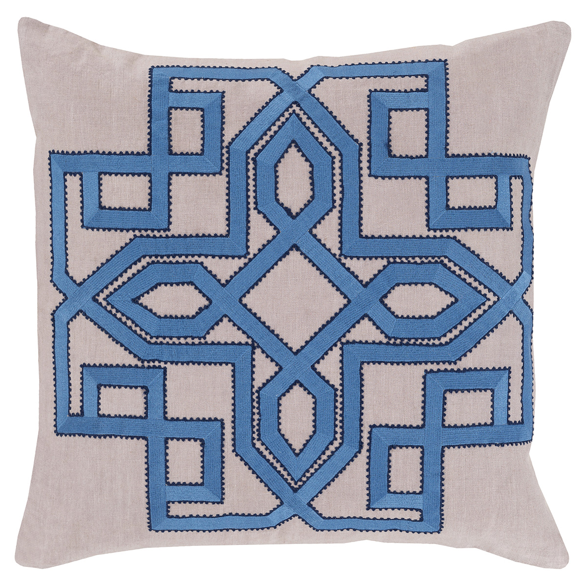 Nesbit Regency Sky Blue Medallion Beige Linen Pillow - 20x20