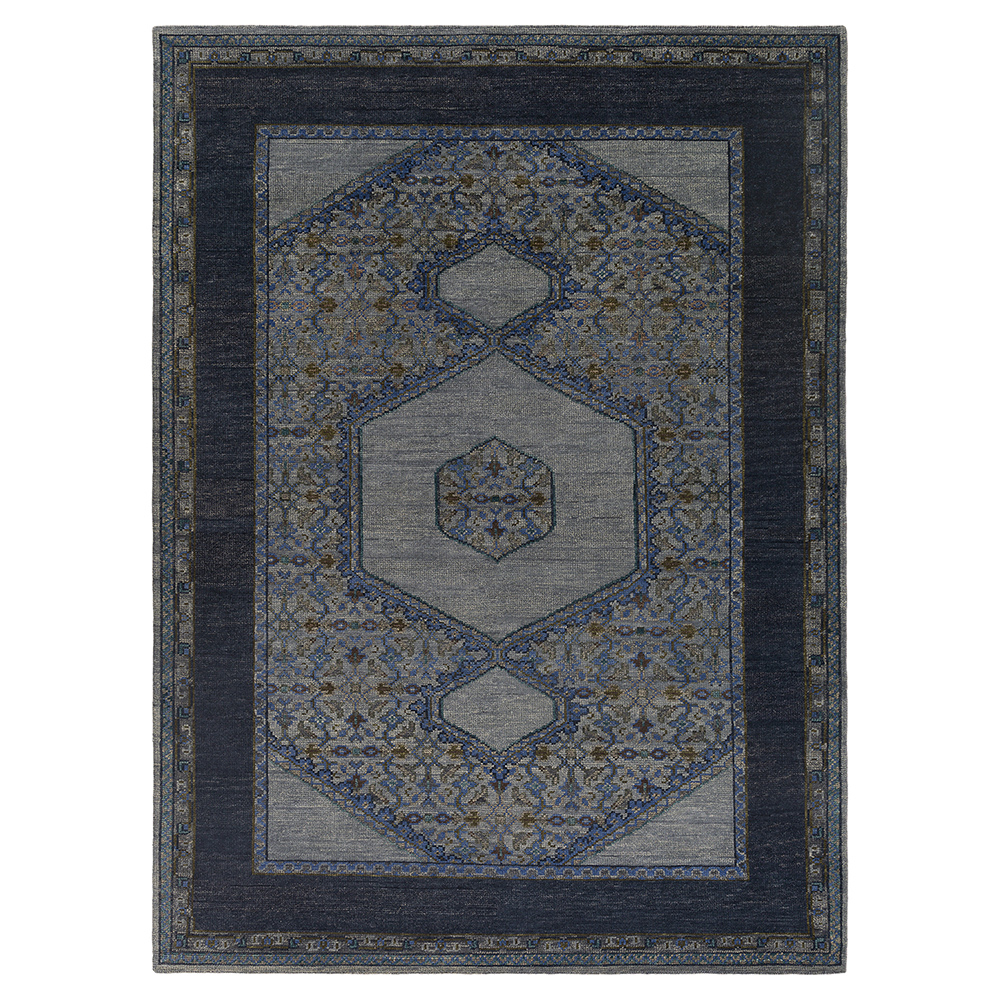 Priya Bazaar Antique Wash Blue Wool Rug - 8x11