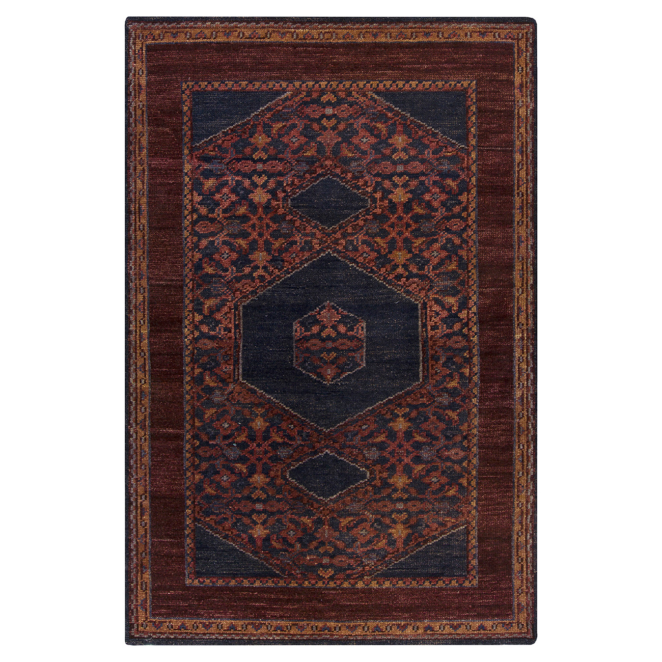 Priya Bazaar Antique Wash Burgundy Wool Rug - 2x3