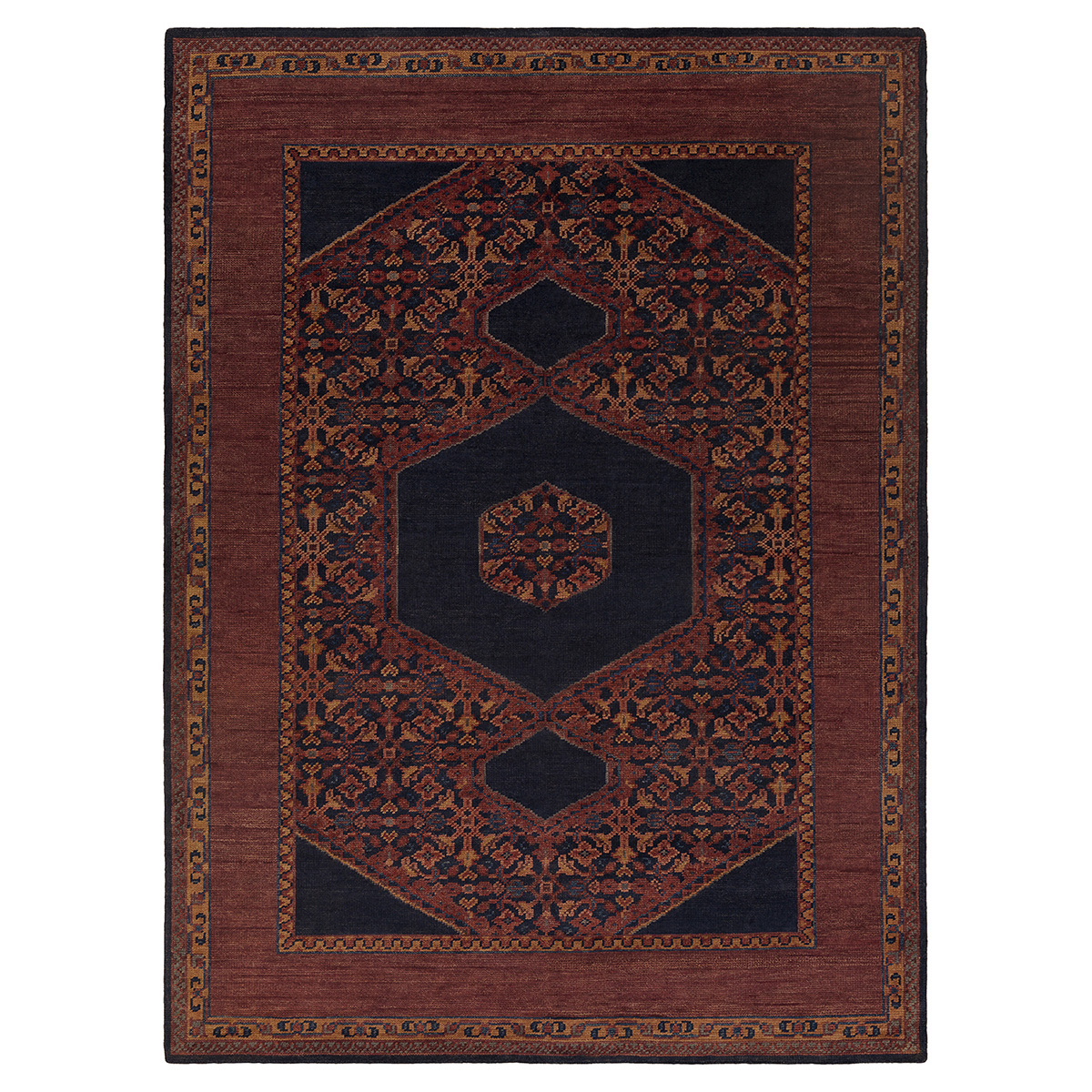 Priya Bazaar Antique Wash Burgundy Wool Rug - 9x13