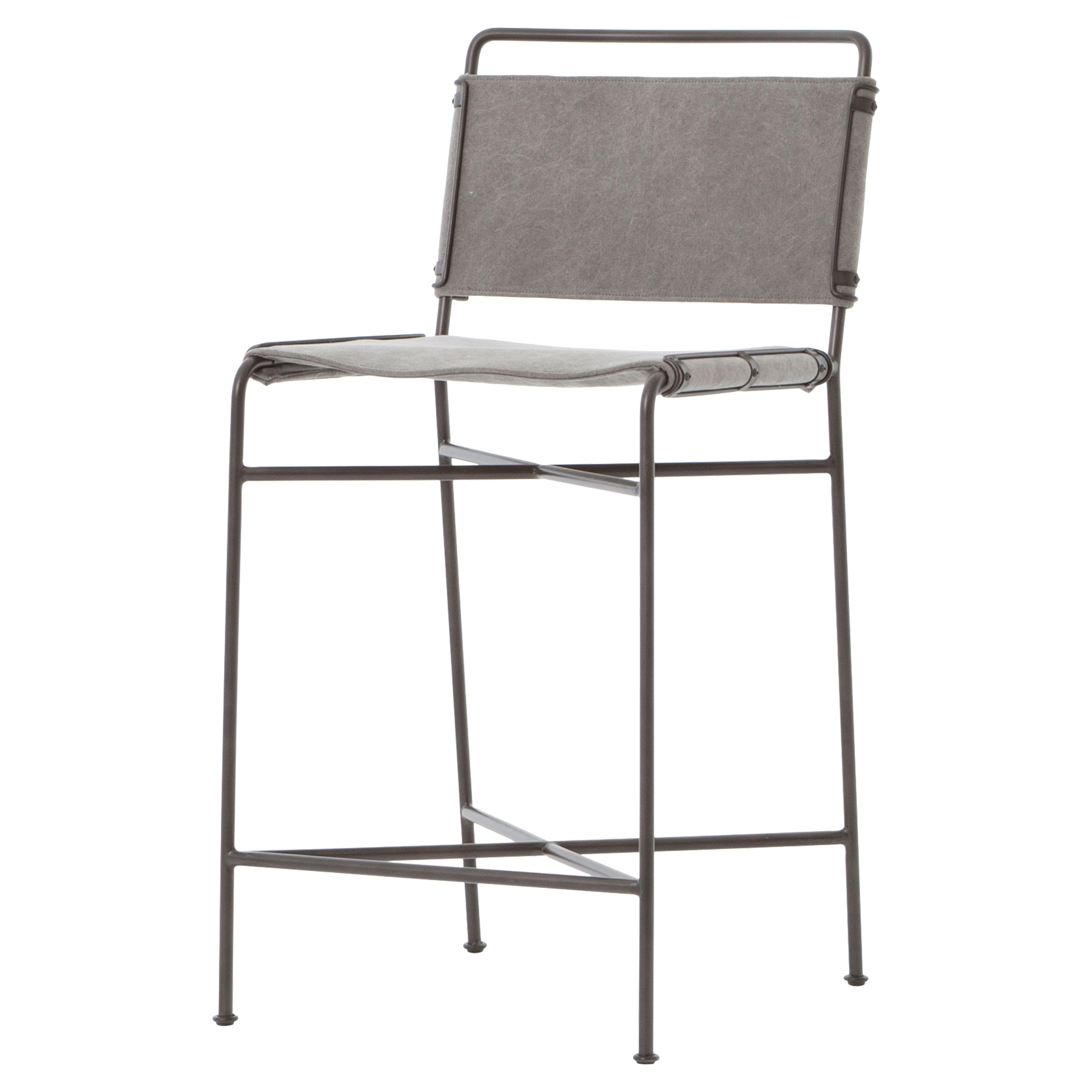 Oxton Industrial Loft Grey Steel Canvas Counter Stool - Pair