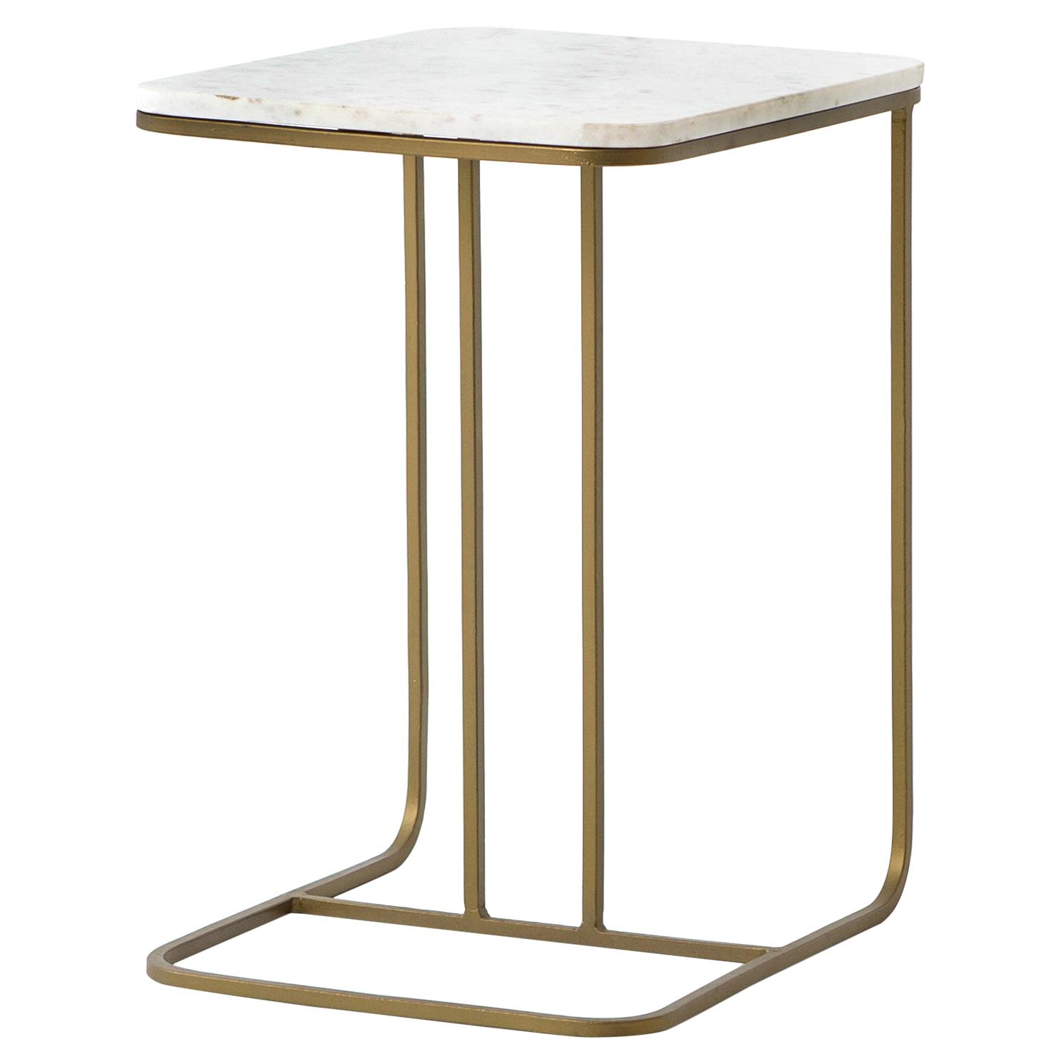 Lanet Regency Tuck Matte Brass White Marble End Table