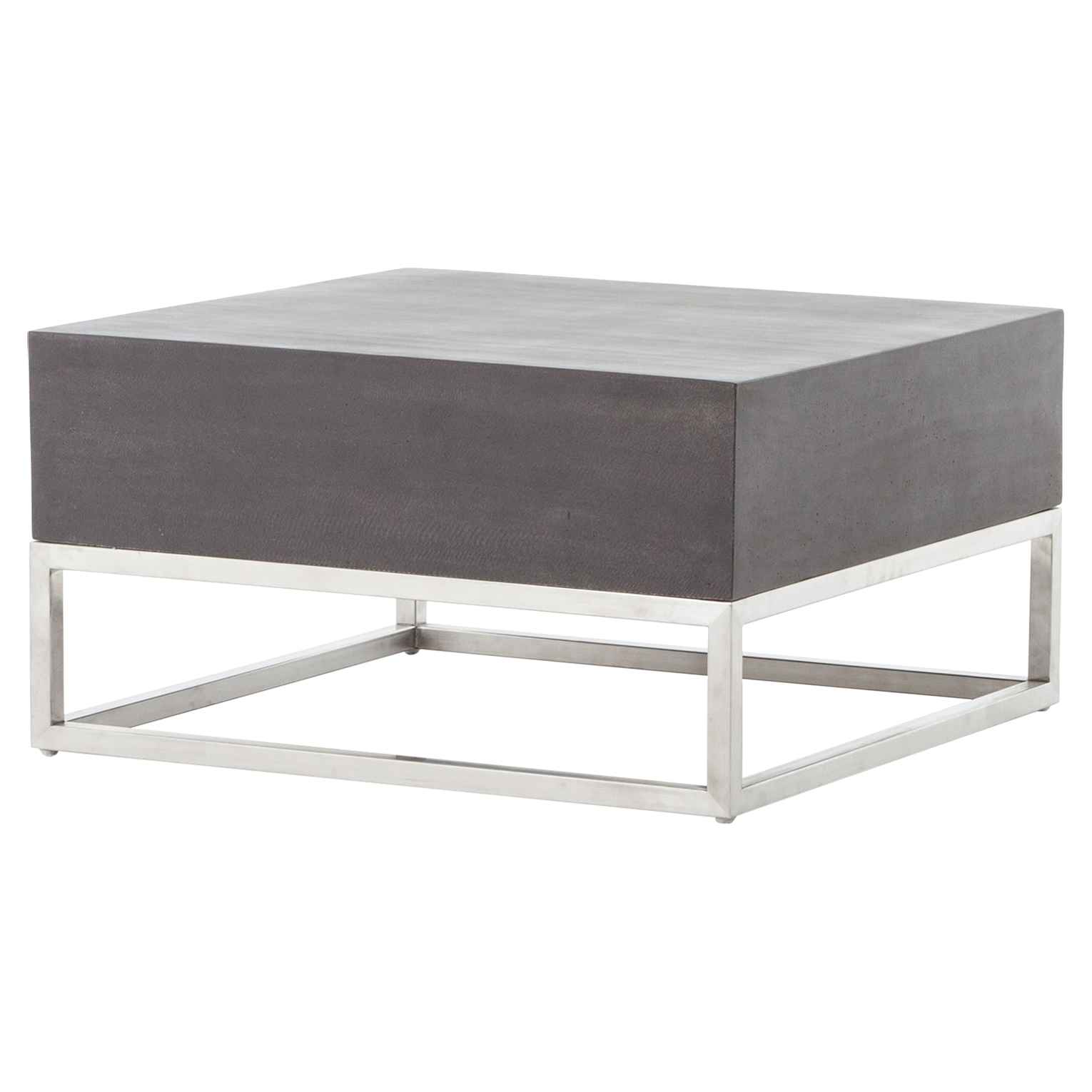 Loris Loft Lava Stone Stainless Steel Outdoor Coffee Table