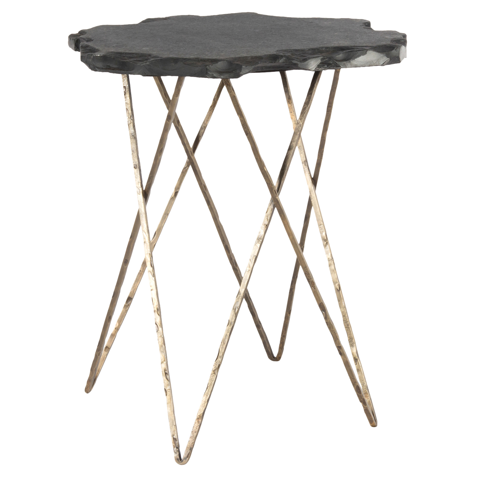 Valda Industrial Organic Slate Brass Hairpin End Table