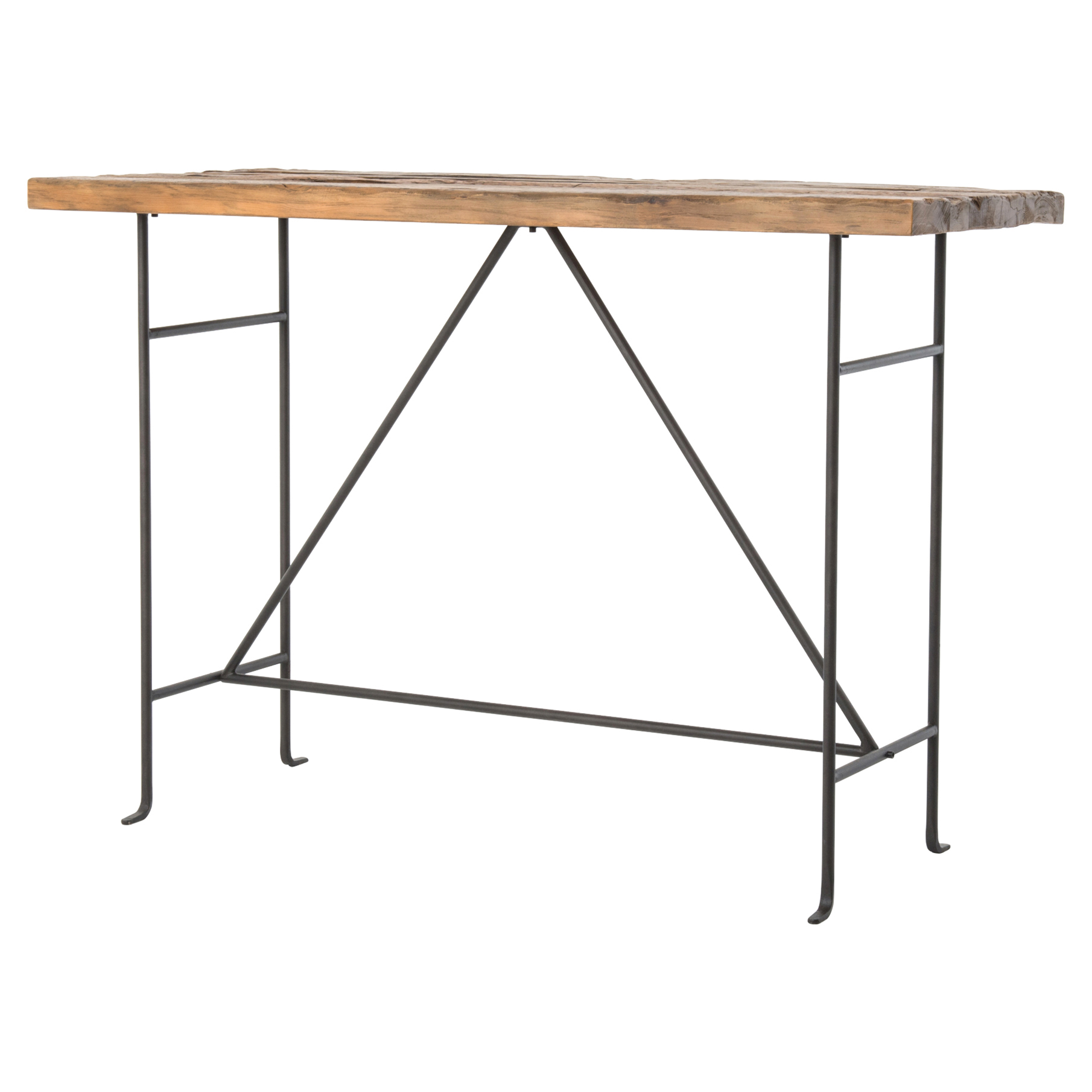 Jenkin Rustic Lodge Bleached Pine Slim Metal Bar Table