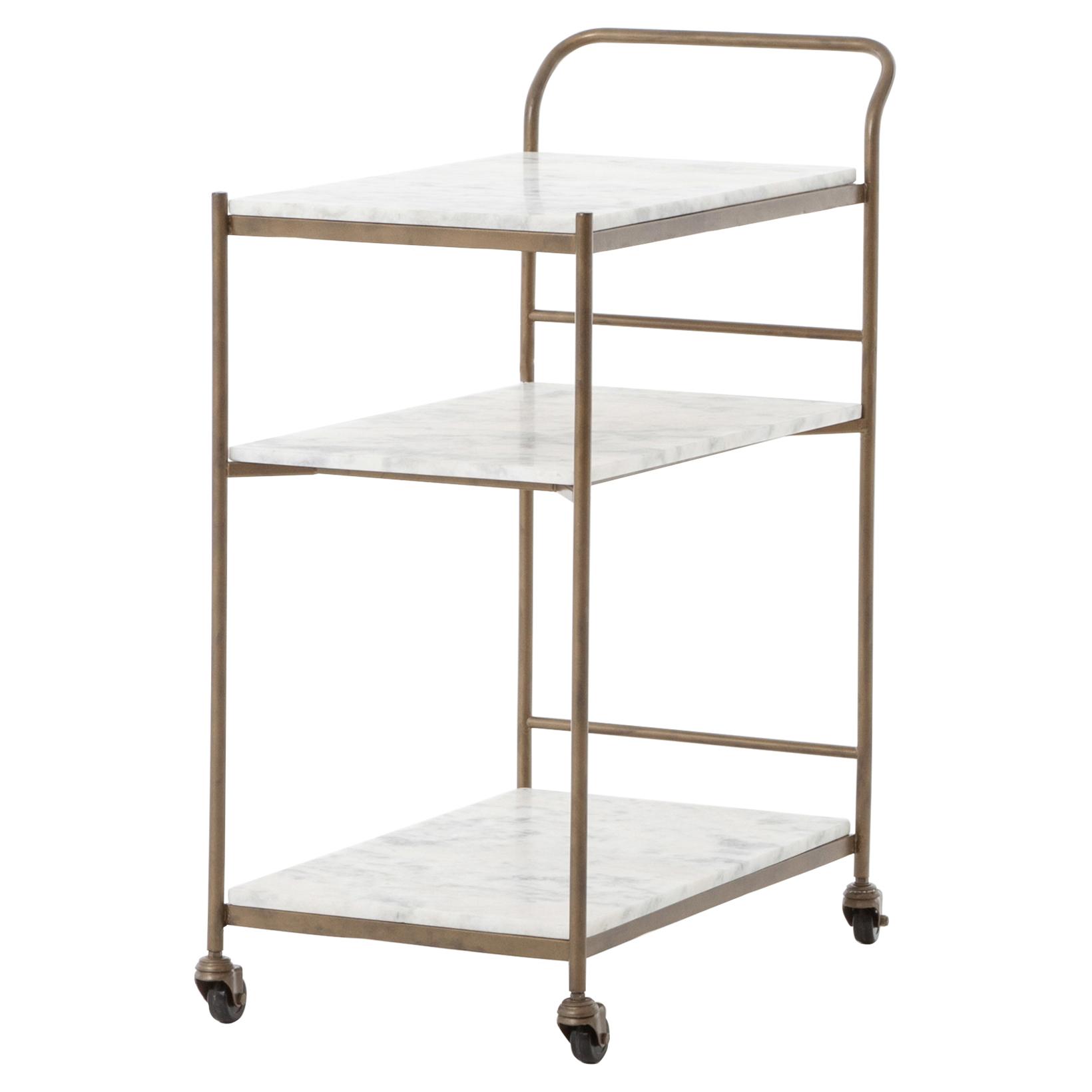 Arianna Modern Brass 3-Tier Marble Large Bar Cart