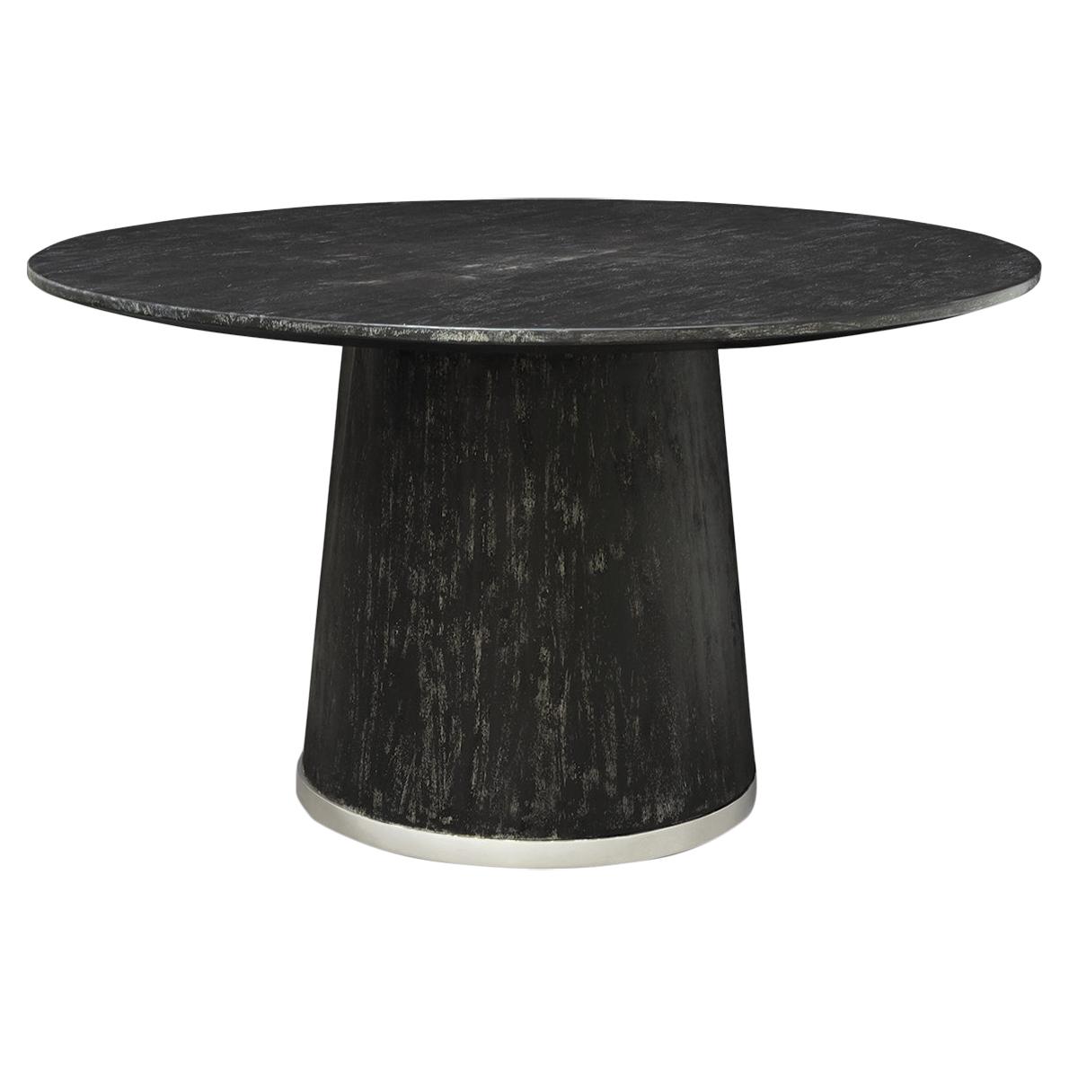 Hannie Loft Silver Trim Black Round Dining Table