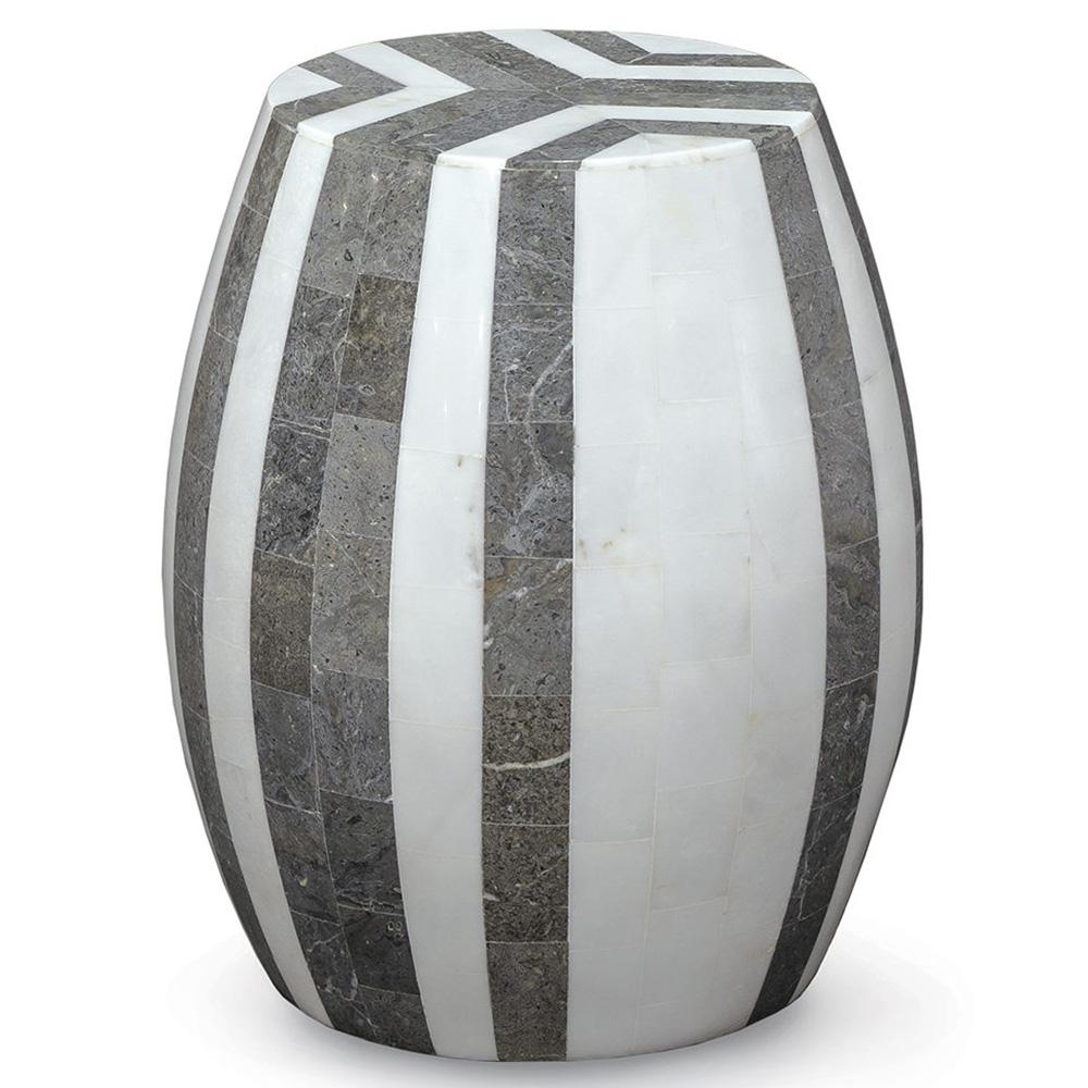 Ezmae Bazaar Snow Grey Inlaid Stone Stool End Table