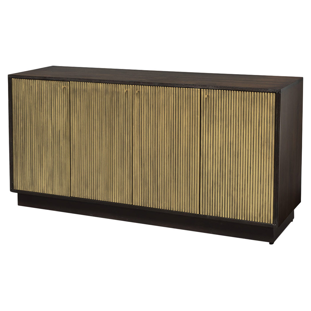 Evy Regency Ridged Metallic Gold Walnut Sideboard