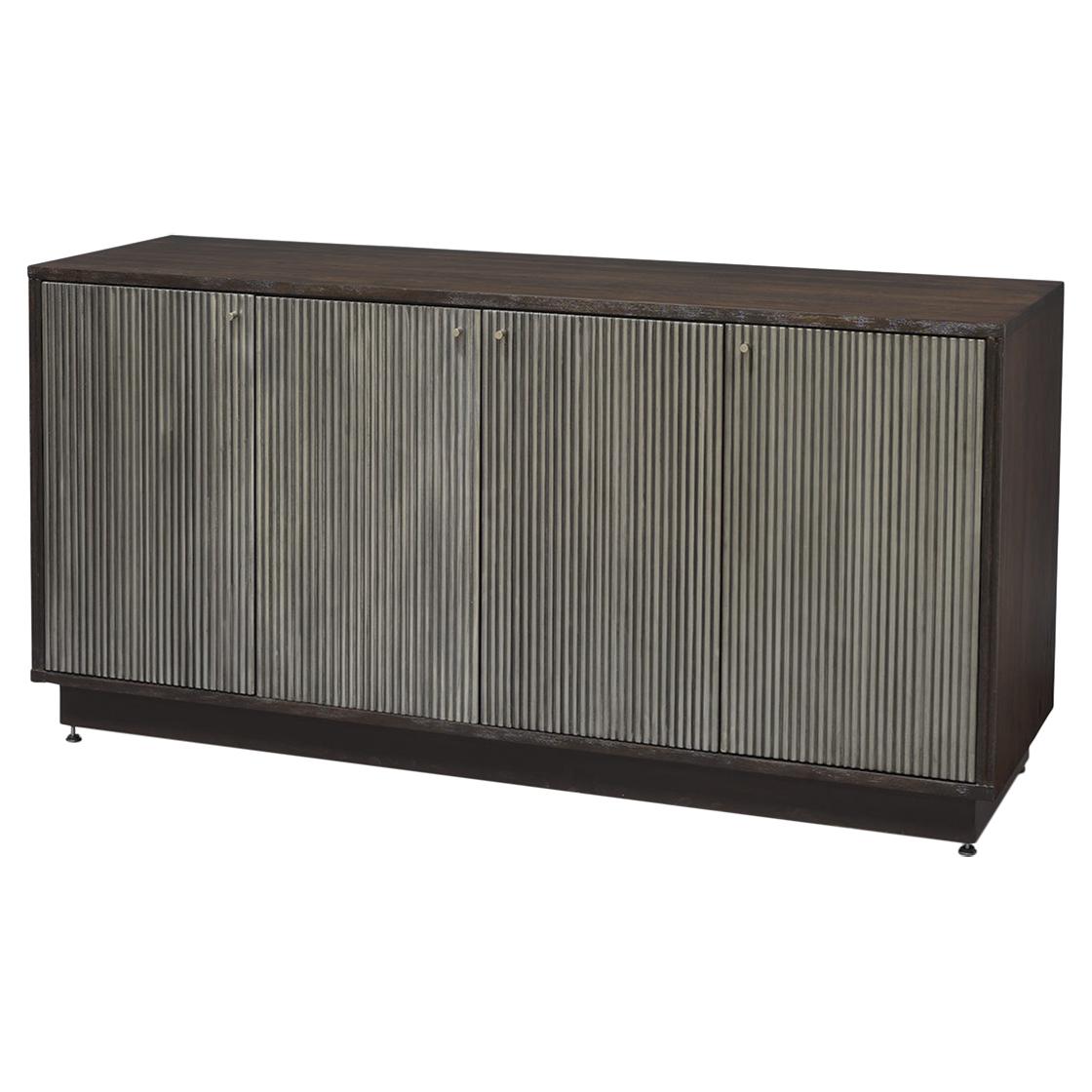 Evy Regency Ridged Metallic Silver Walnut Sideboard