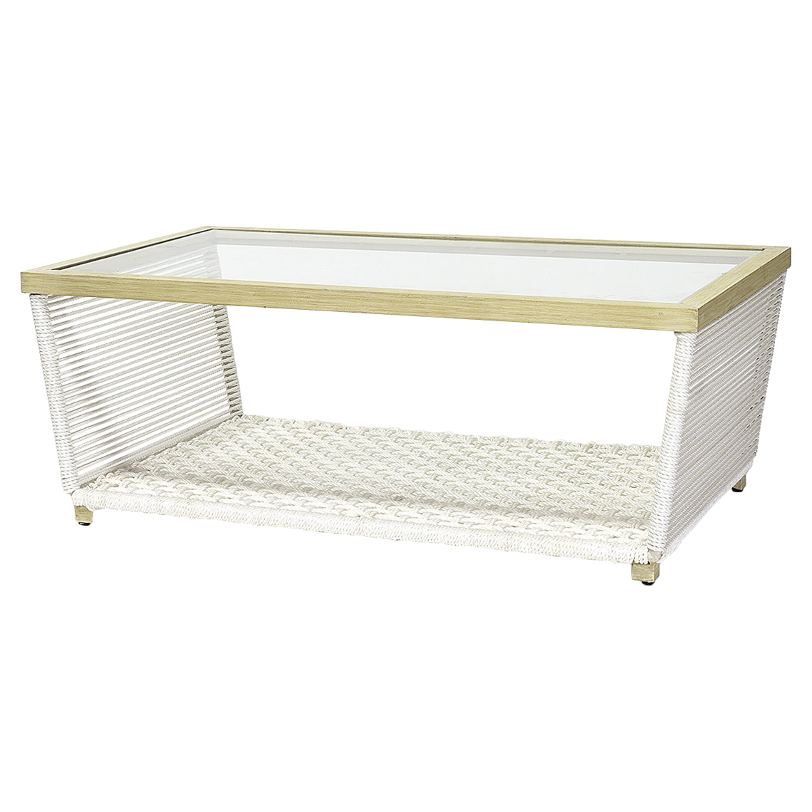 Arwin Modern Marine Rope White Outdoor Coffee Table